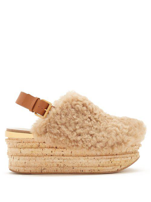 Leather Camilla Shearling Wedge Sandals