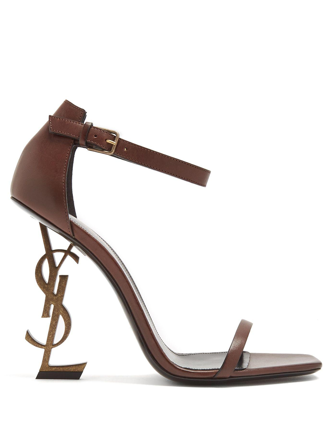 Lyst Saint Laurent Opyum Logo Heel Leather Sandals In Brown