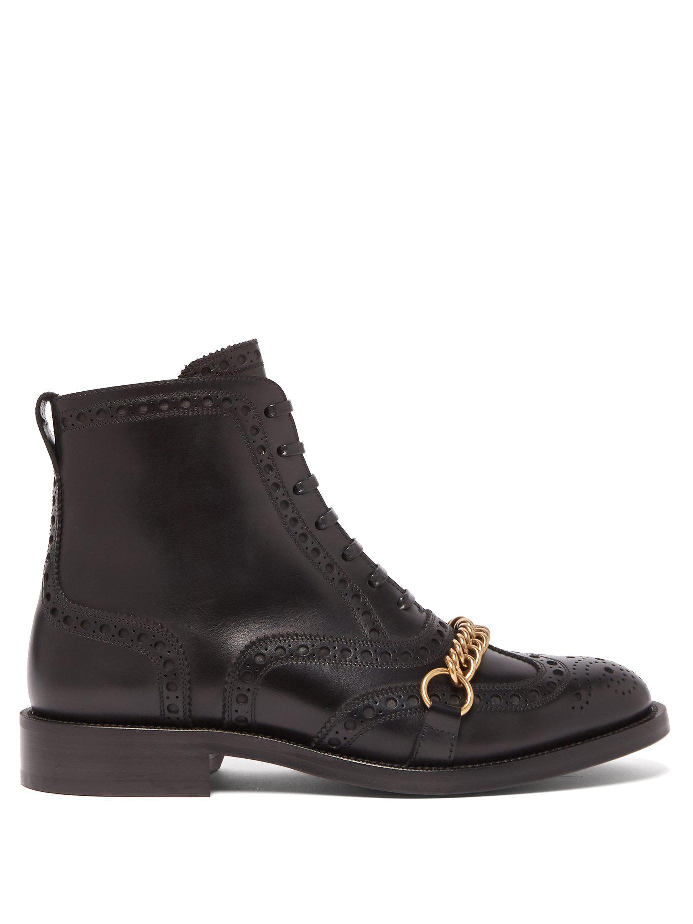 027b2582778 Lyst - Burberry Barksby Brogue Leather Ankle Boots in Black