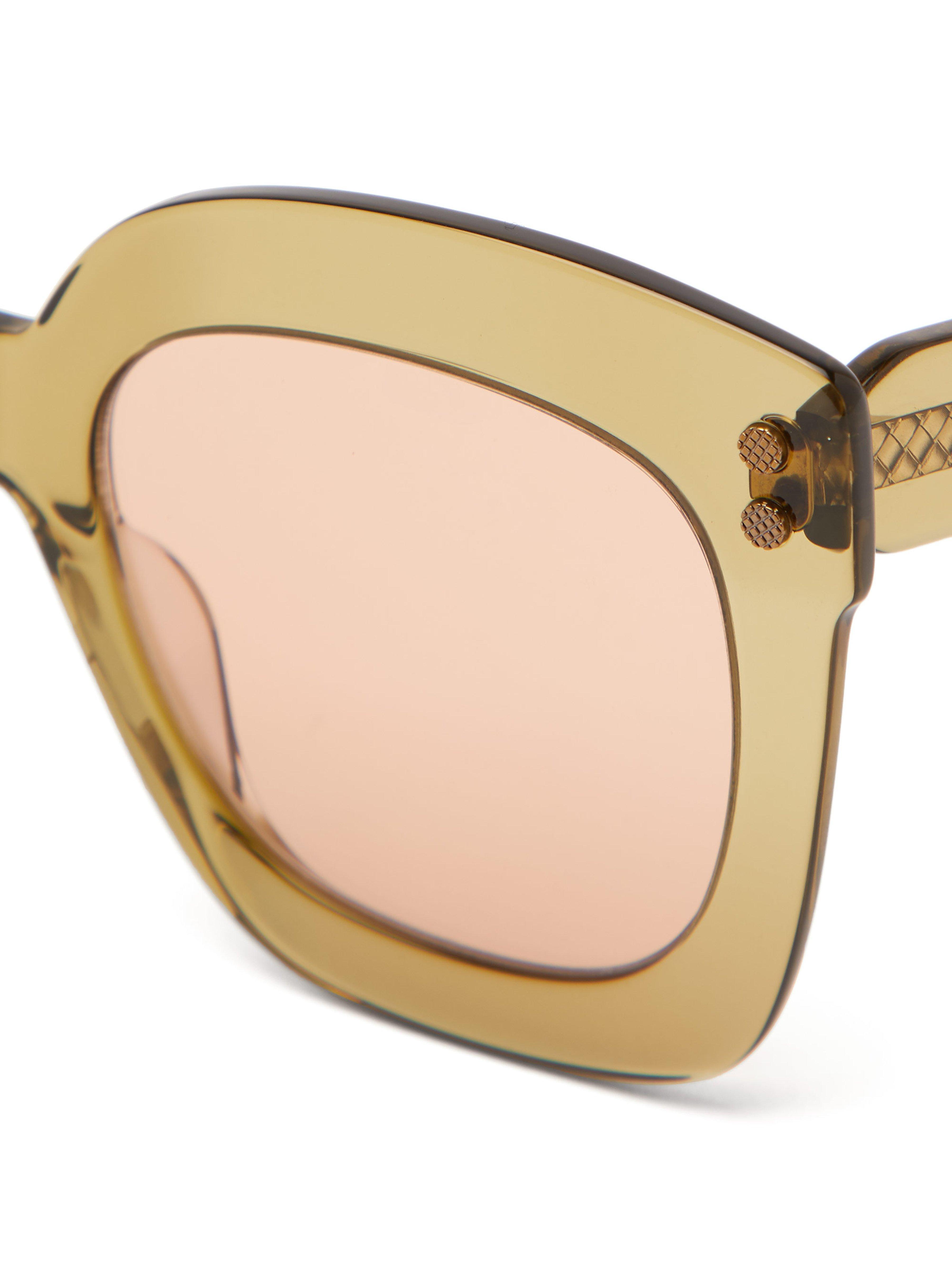 b6226c3470c64 Bottega Veneta - Green Oversized Square Cat Eye Acetate Sunglasses - Lyst.  View fullscreen