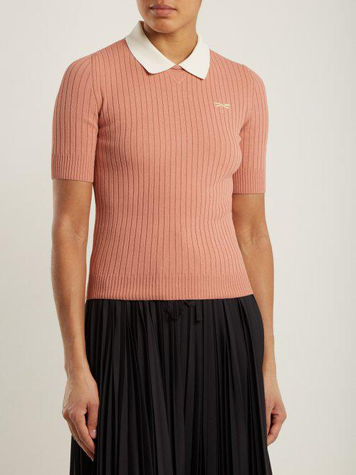 556bd501b1 RED Valentino Pink Dragonfly-embroidered Ribbed-knit Polo Shirt