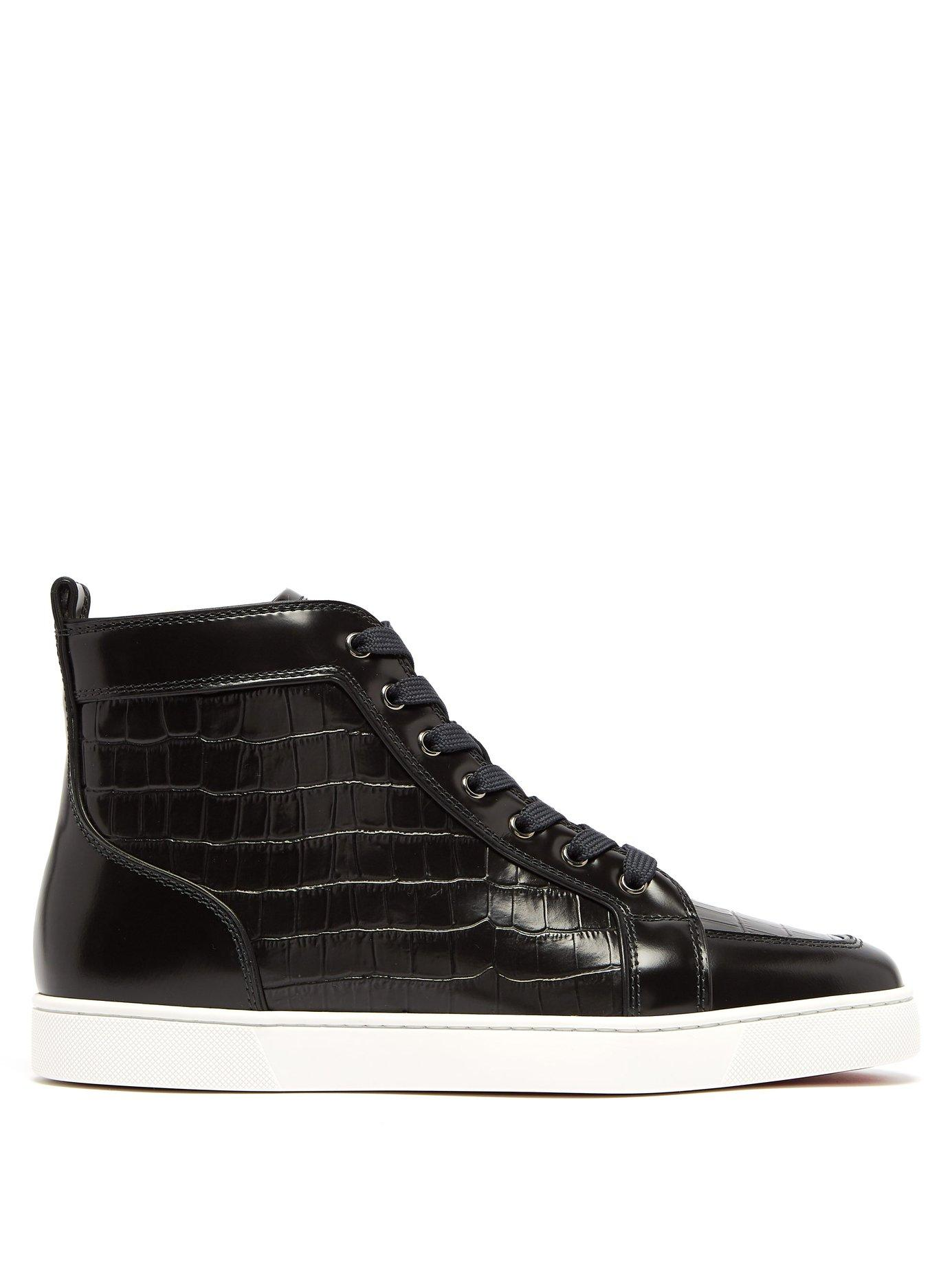 promo code aa8d6 77ffe Men's Black Rantus Crocodile Effect High Top Leather Sneakers