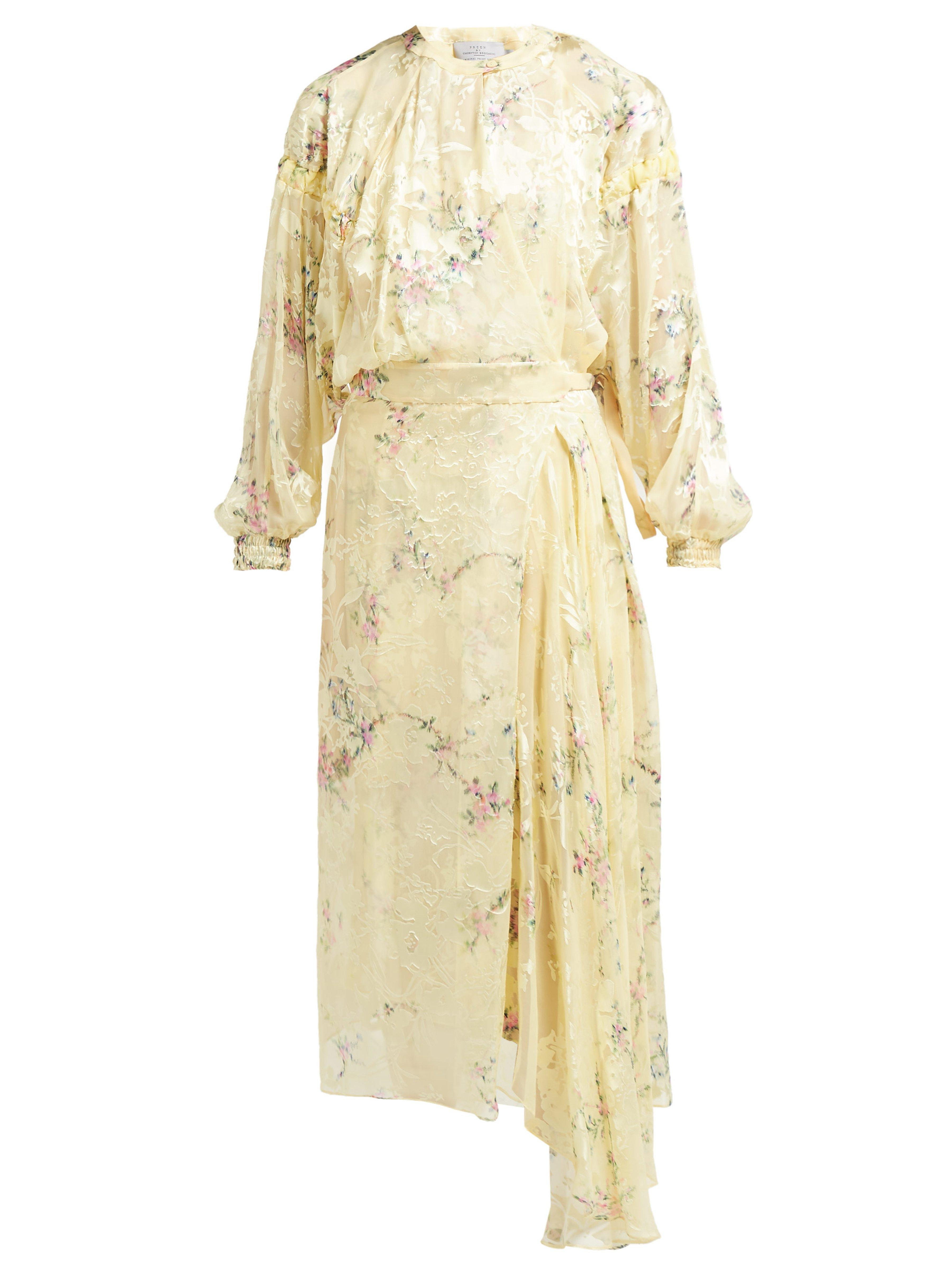 Silk Blend Dress In Floral Devoré Preen Bregazzi Doreen By Thornton mN8wOvn0