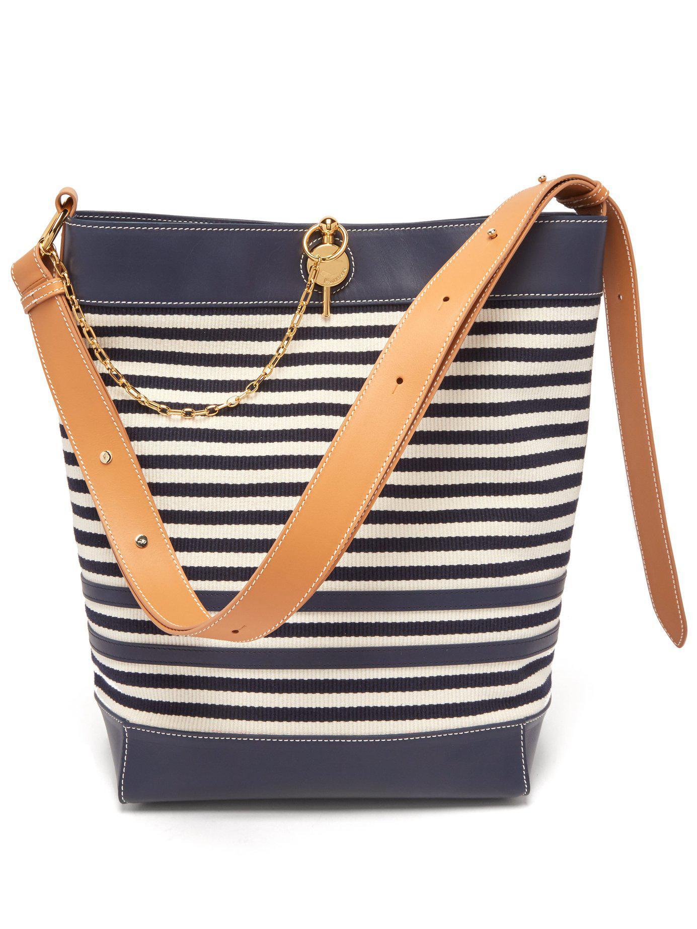 Lock Striped Canvas Tote Bag