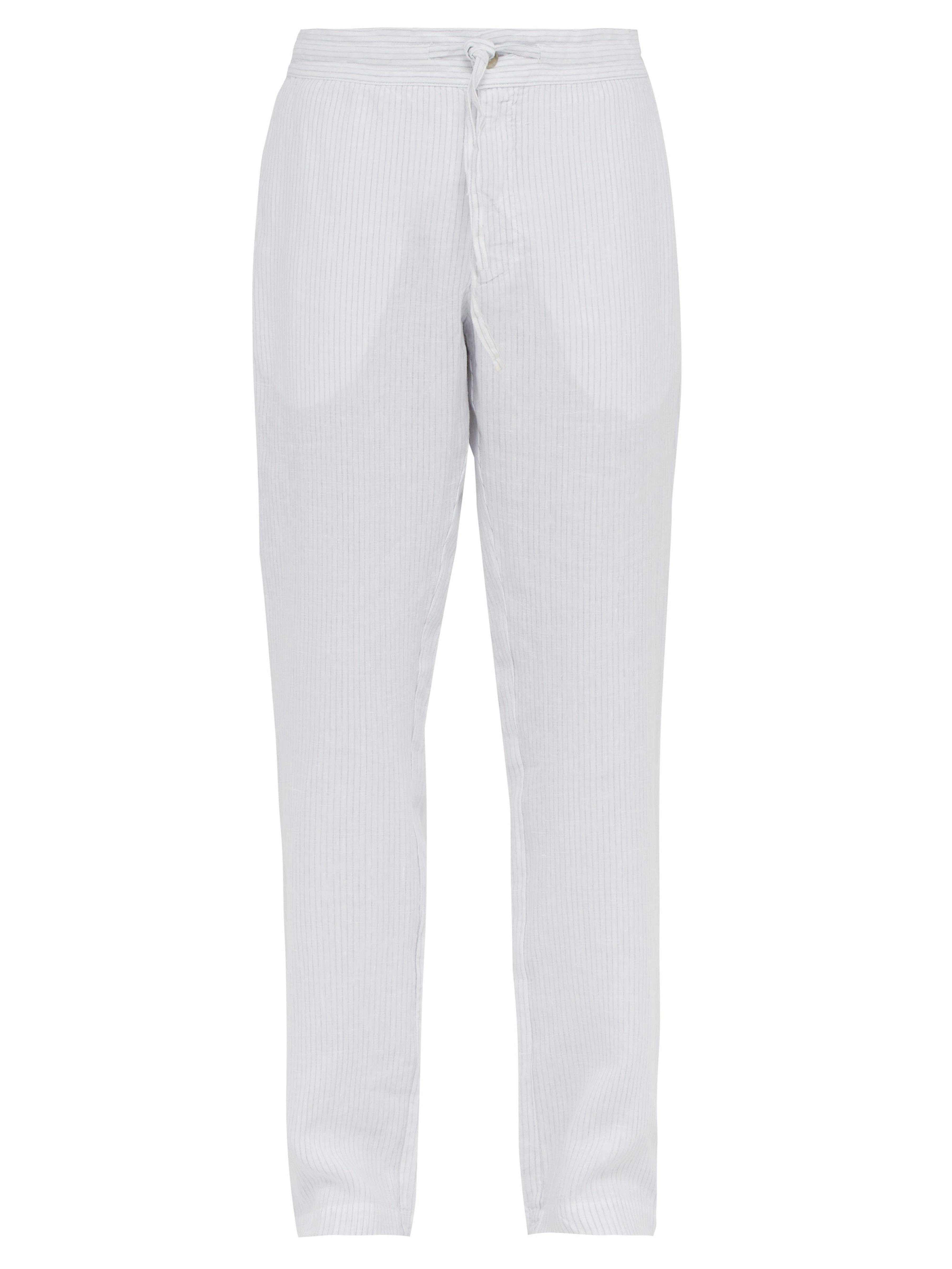 dd48c05e88 120% Lino Striped Slubbed Linen Relaxed Fit Trousers in White for ...