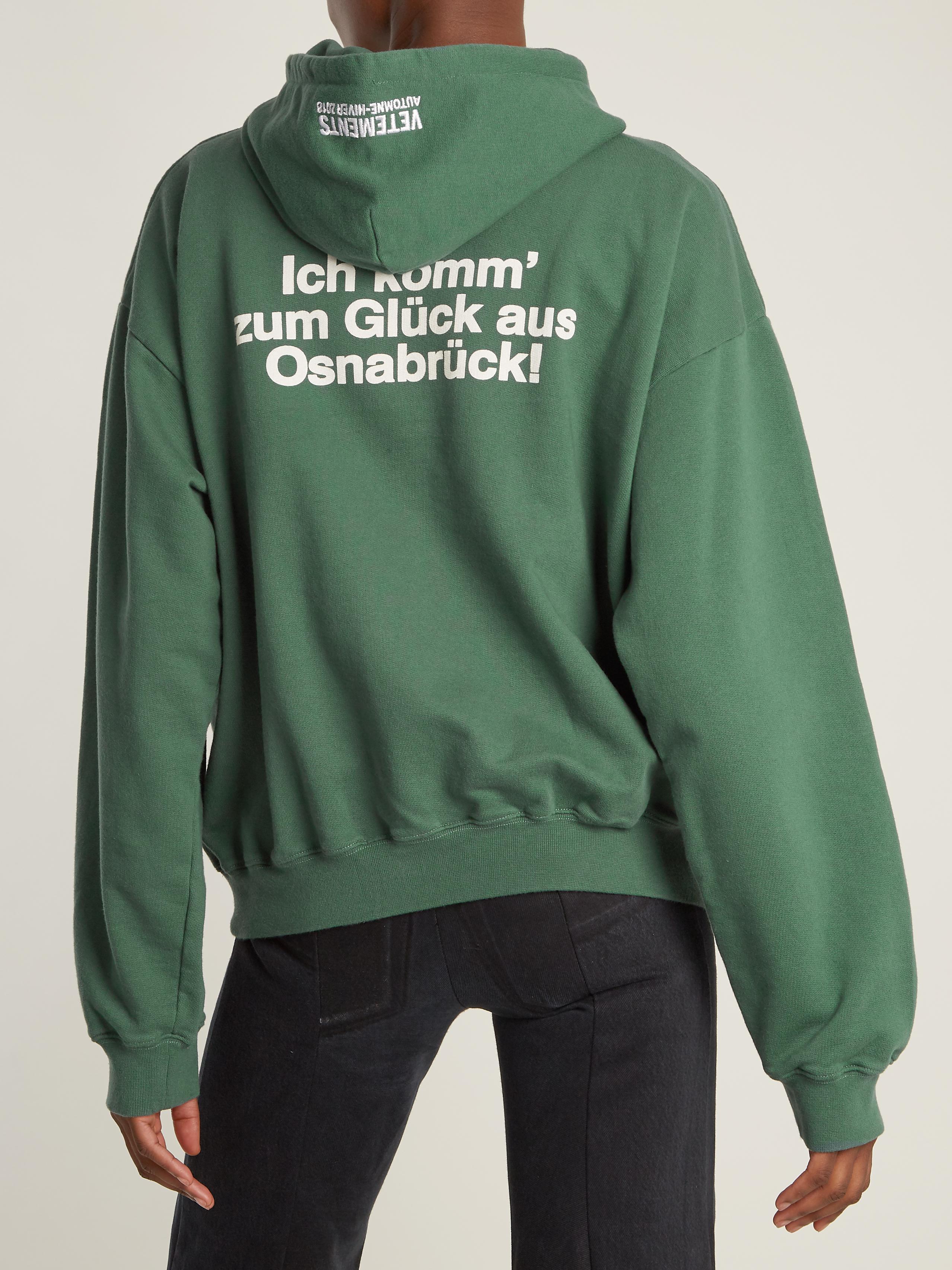 Vetements Hooded Cotton-blend Sweatshirt in Green - Lyst