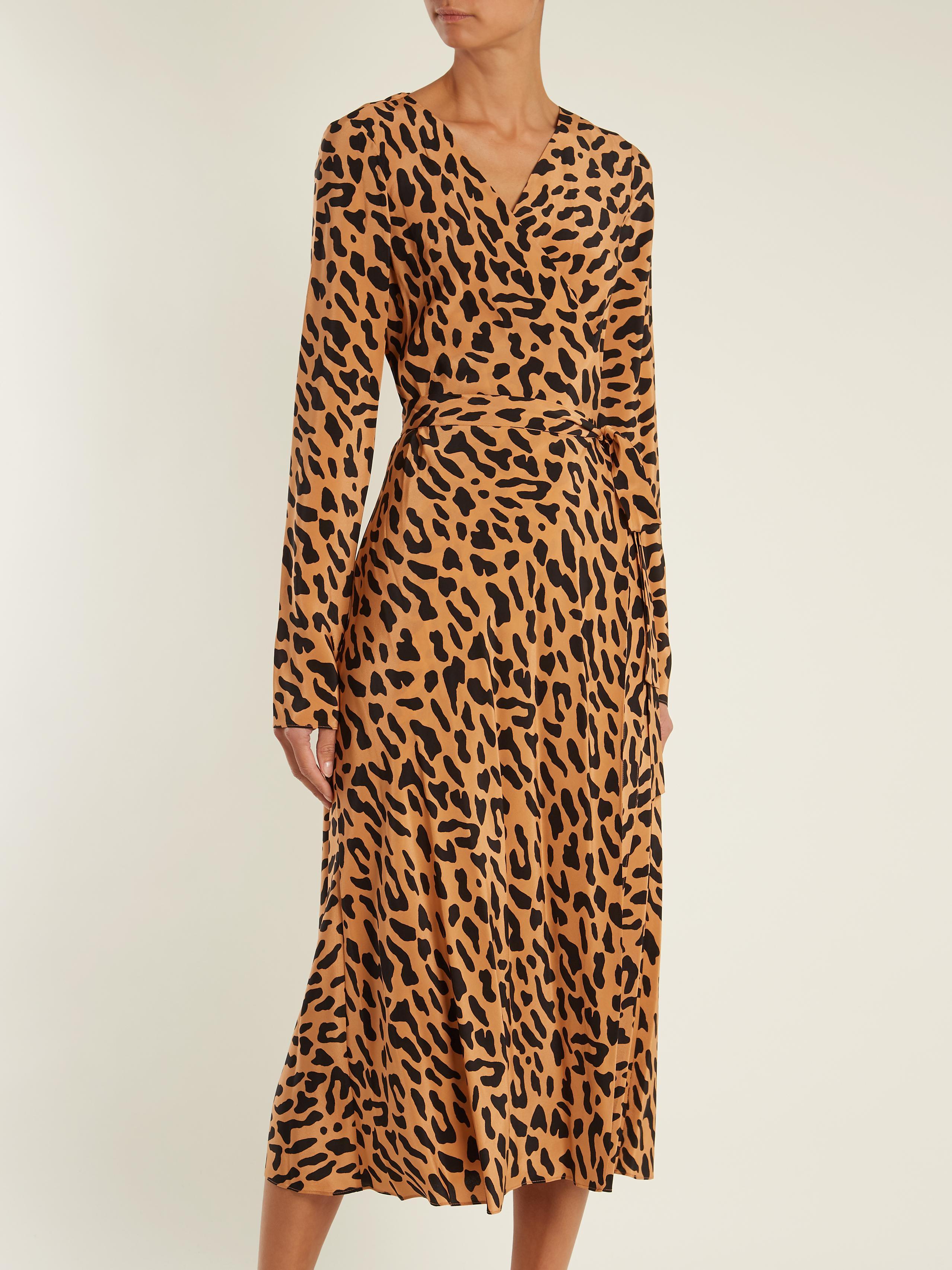 Diane Von Furstenberg Leopard Print Silk Wrap Dress Lyst