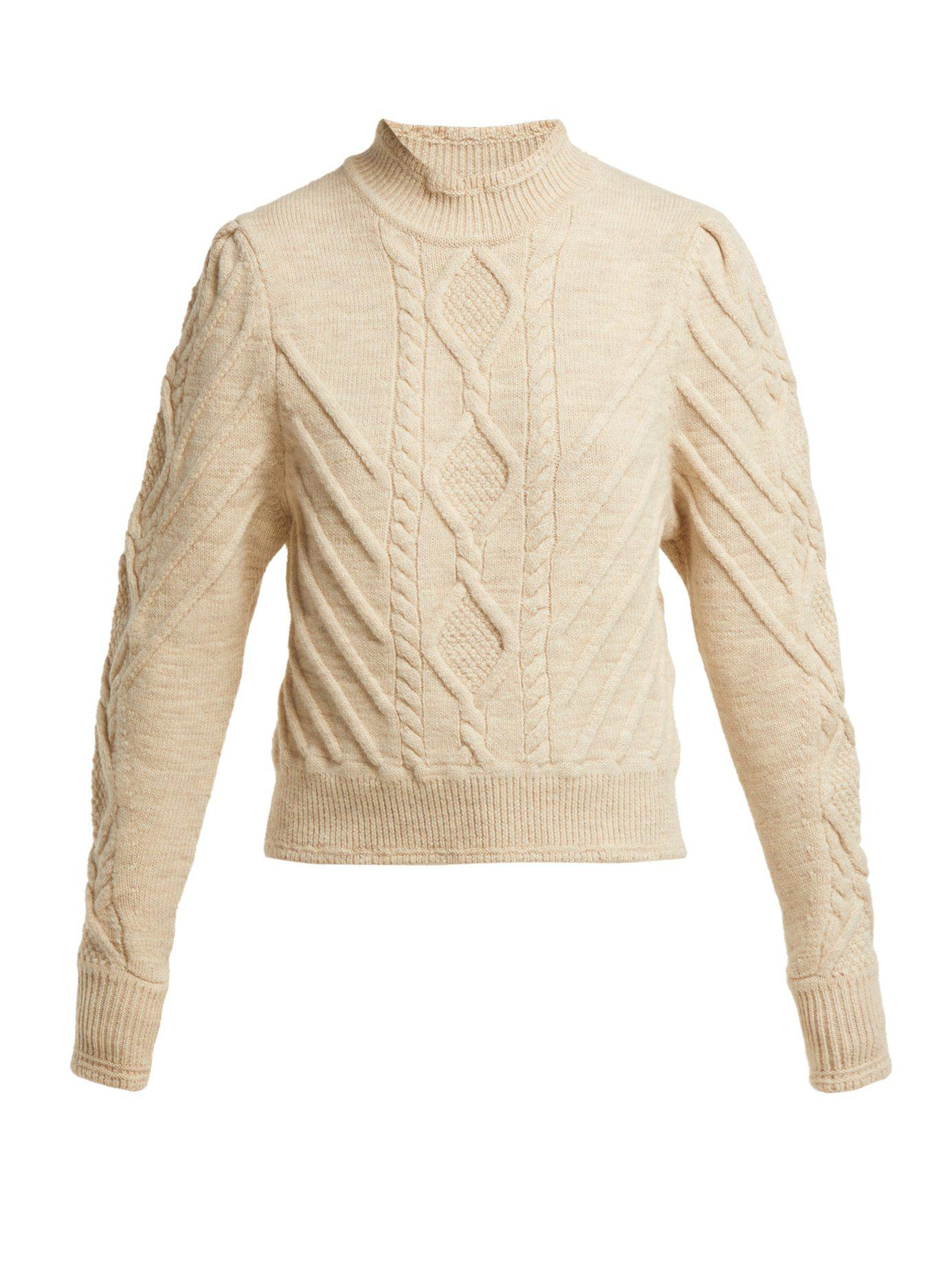 cb3d4d23f0288b Lyst - Isabel Marant Brantley Aran Knit Wool Blend Sweater in White