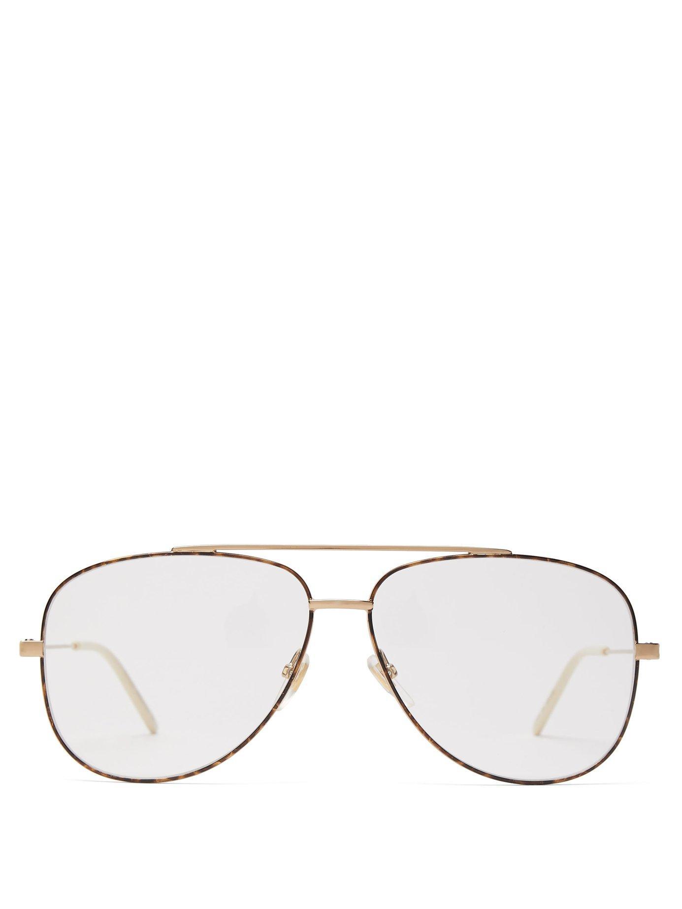 72516d1ae12c2 Lyst - Gucci Tortoiseshell Effect Aviator Frame Glasses in Metallic ...