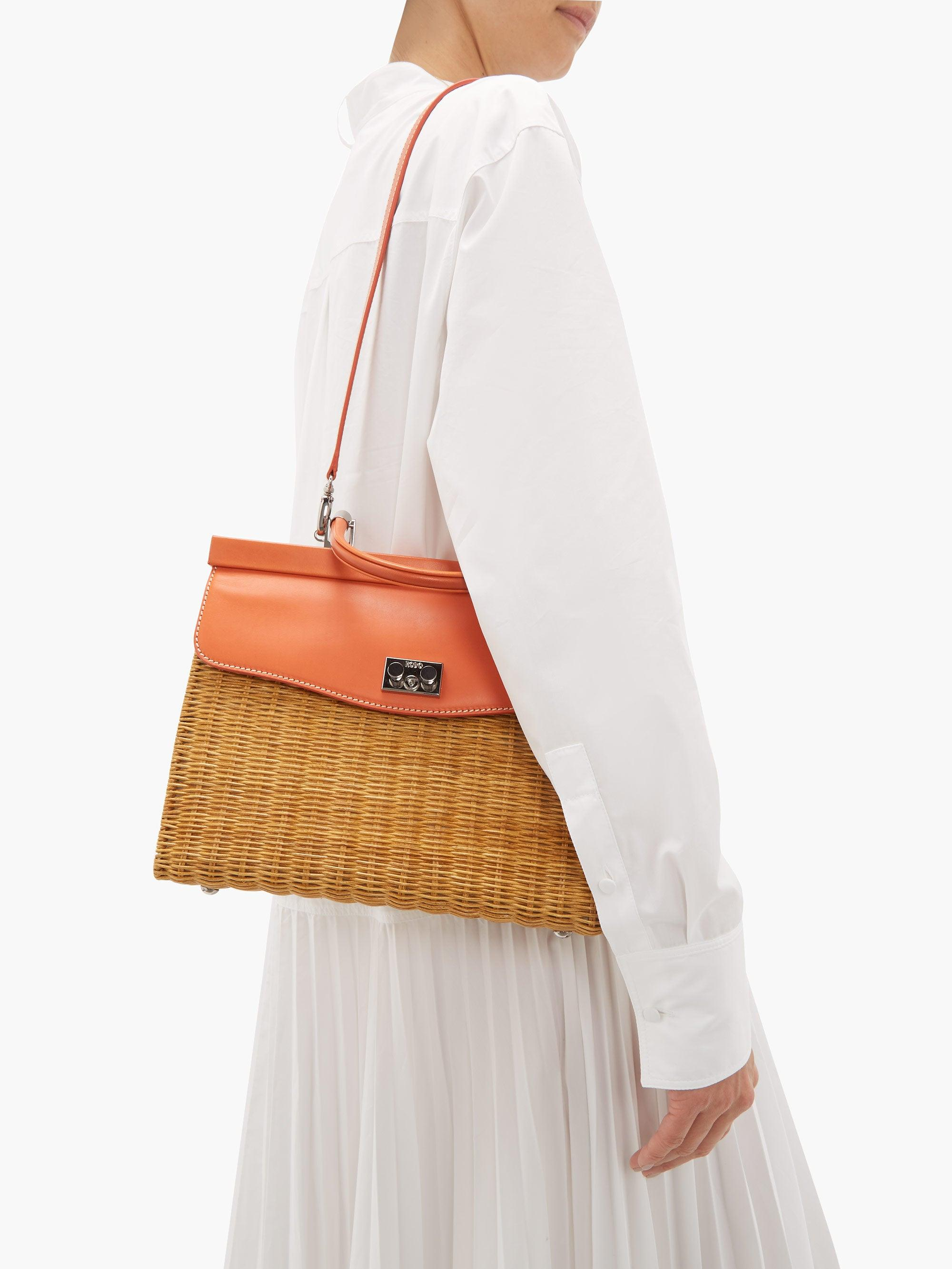 Rodo Leather And Wicker Top-handle Bag in Yellow & Orange (Orange)