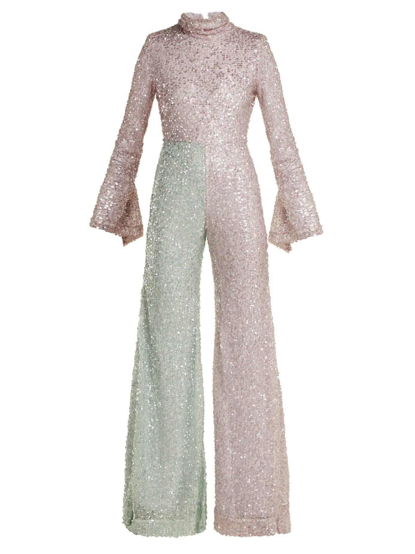 46c9a6c18262c Halpern. Women s Flared Sequin Jumpsuit