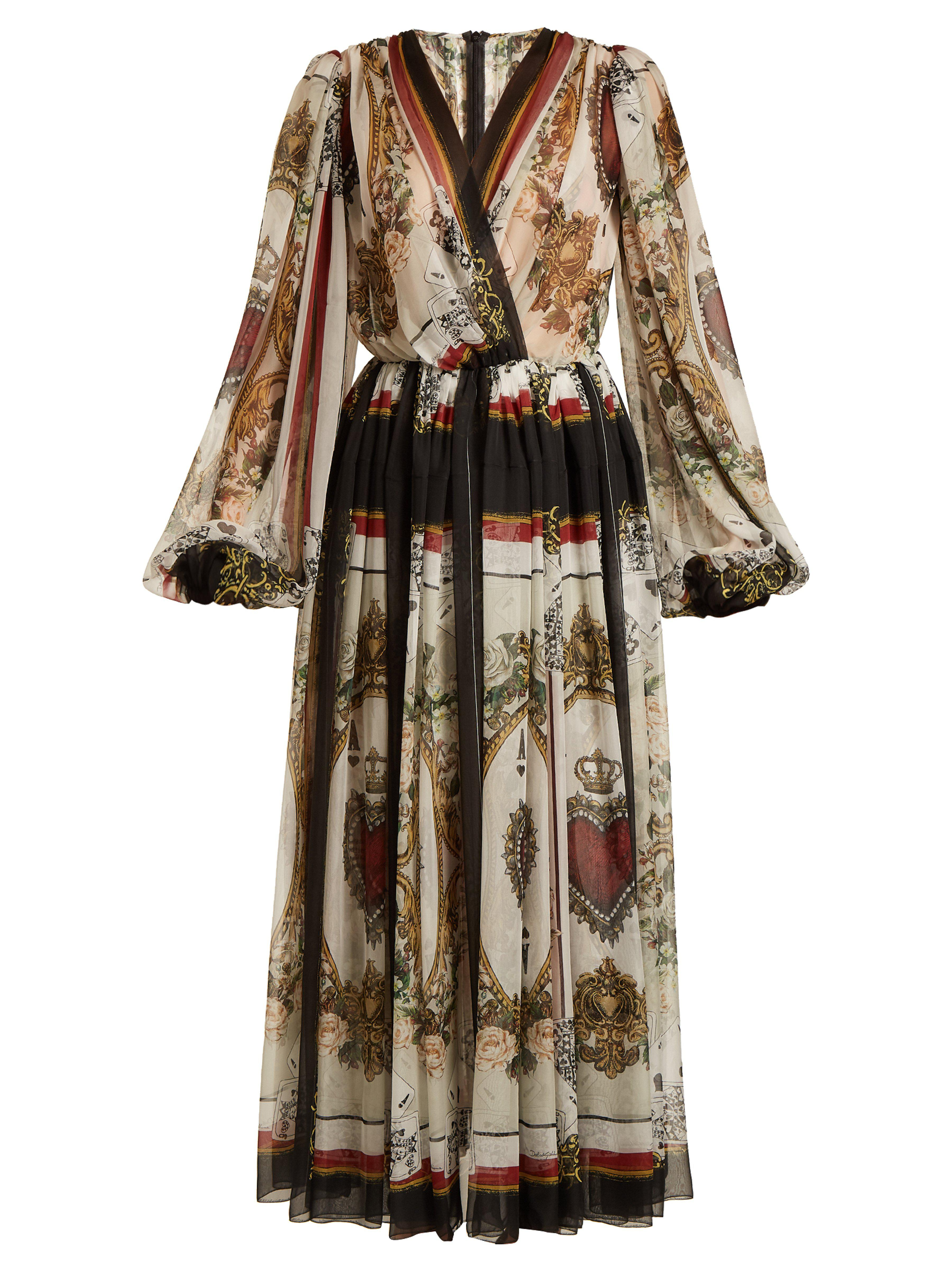 Dolce   Gabbana. Women s Queen Of Hearts And Floral Print Silk Dress 7575e7793