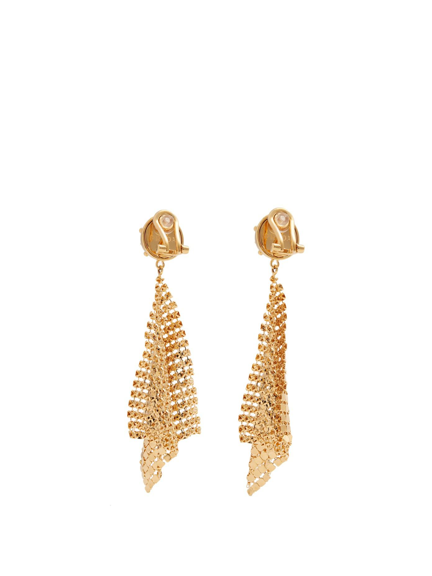 e9a57b90e Prada Glomesh Drop Clip-on Earrings in Metallic - Lyst