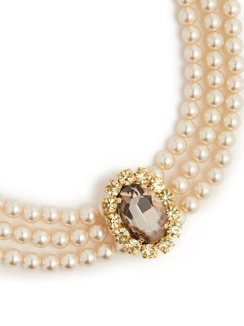 Erdem Faux-pearl And Crystal Embellished Necklace in Gold (Metallic)