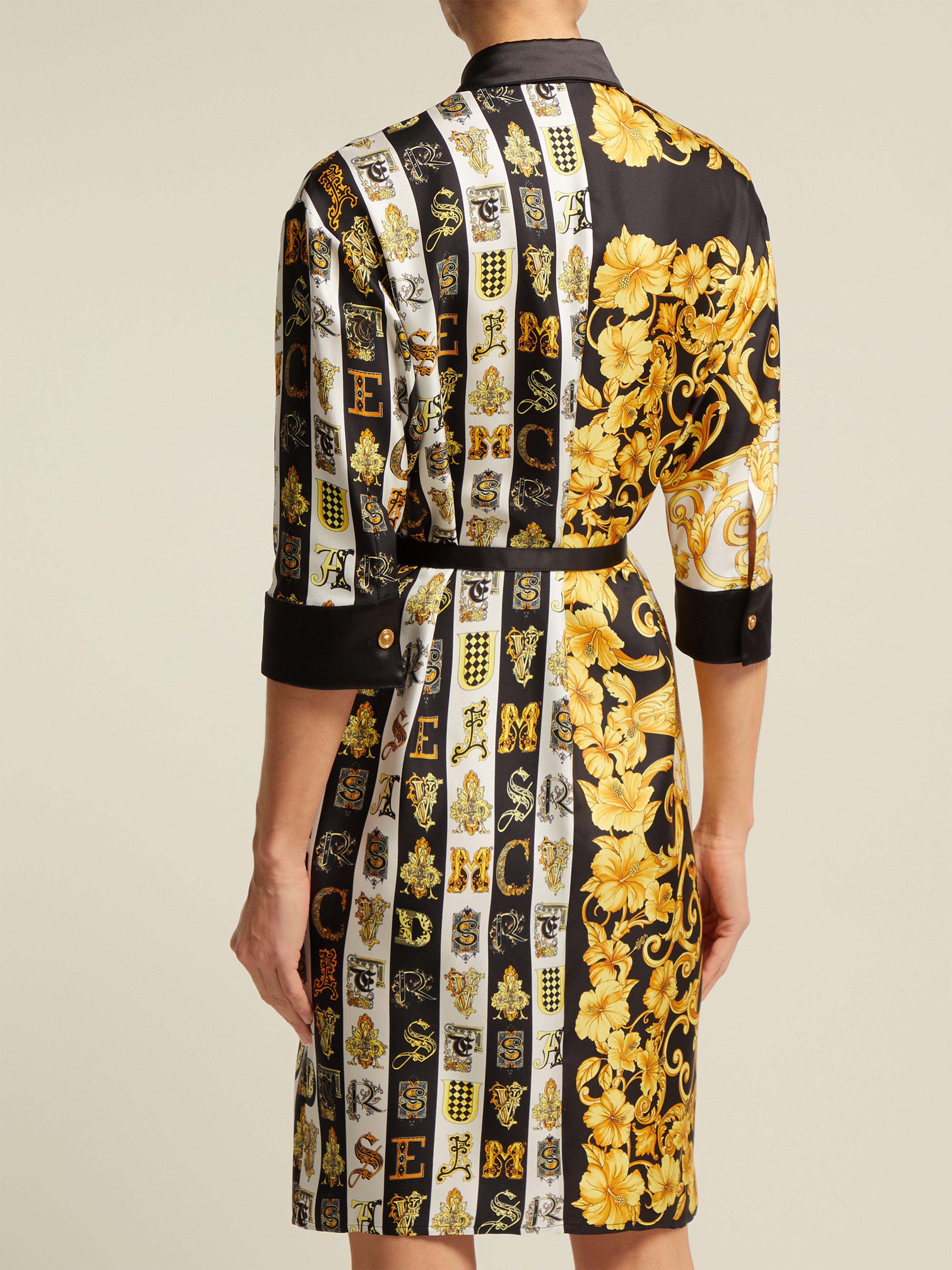 a00176912ab Versace - Multicolor Baroque Print Silk Twill Shirtdress - Lyst. View  fullscreen