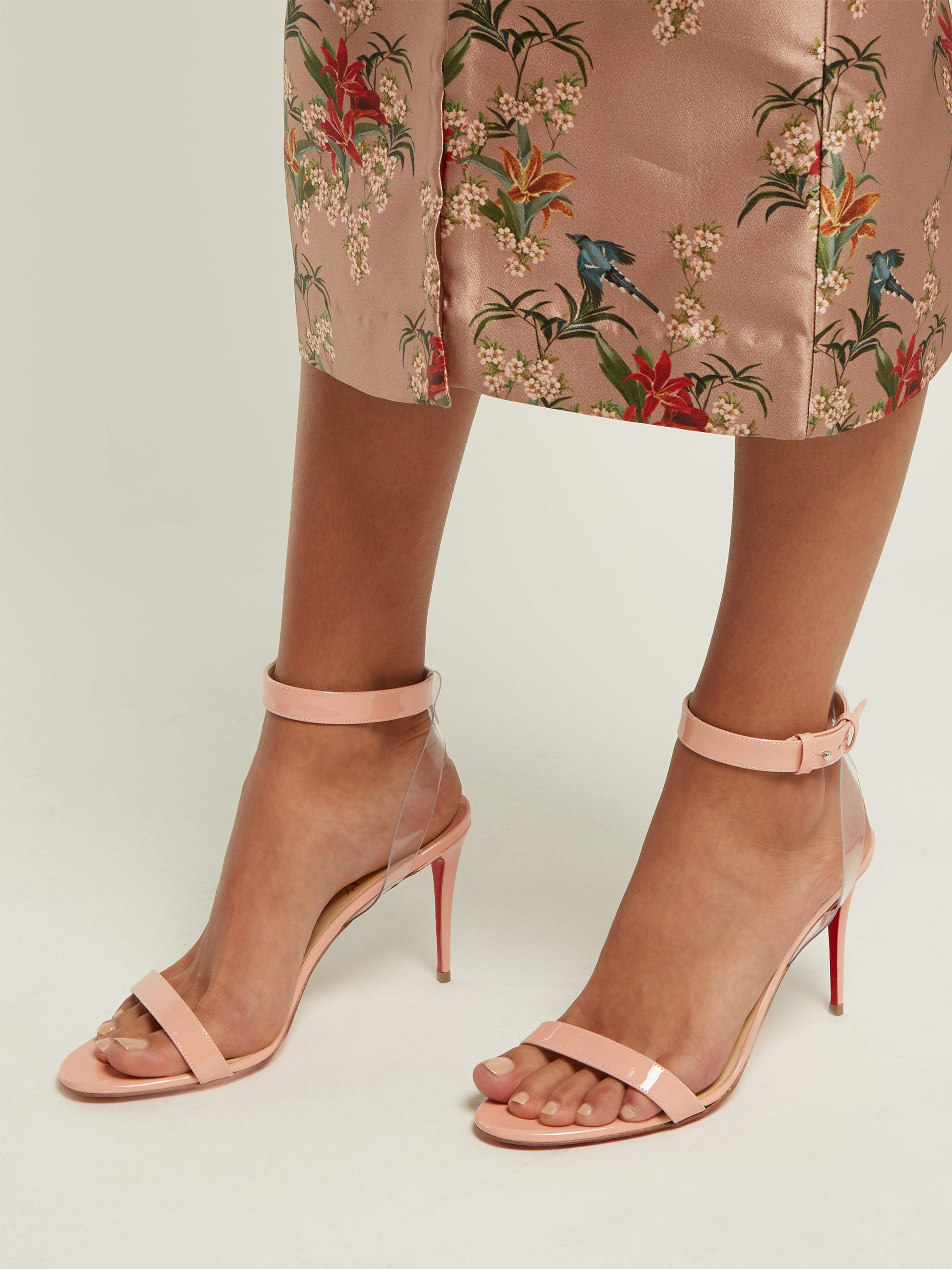 871bef9270ee Christian Louboutin - Pink Jonatina 85 Patent Leather Sandals - Lyst. View  fullscreen