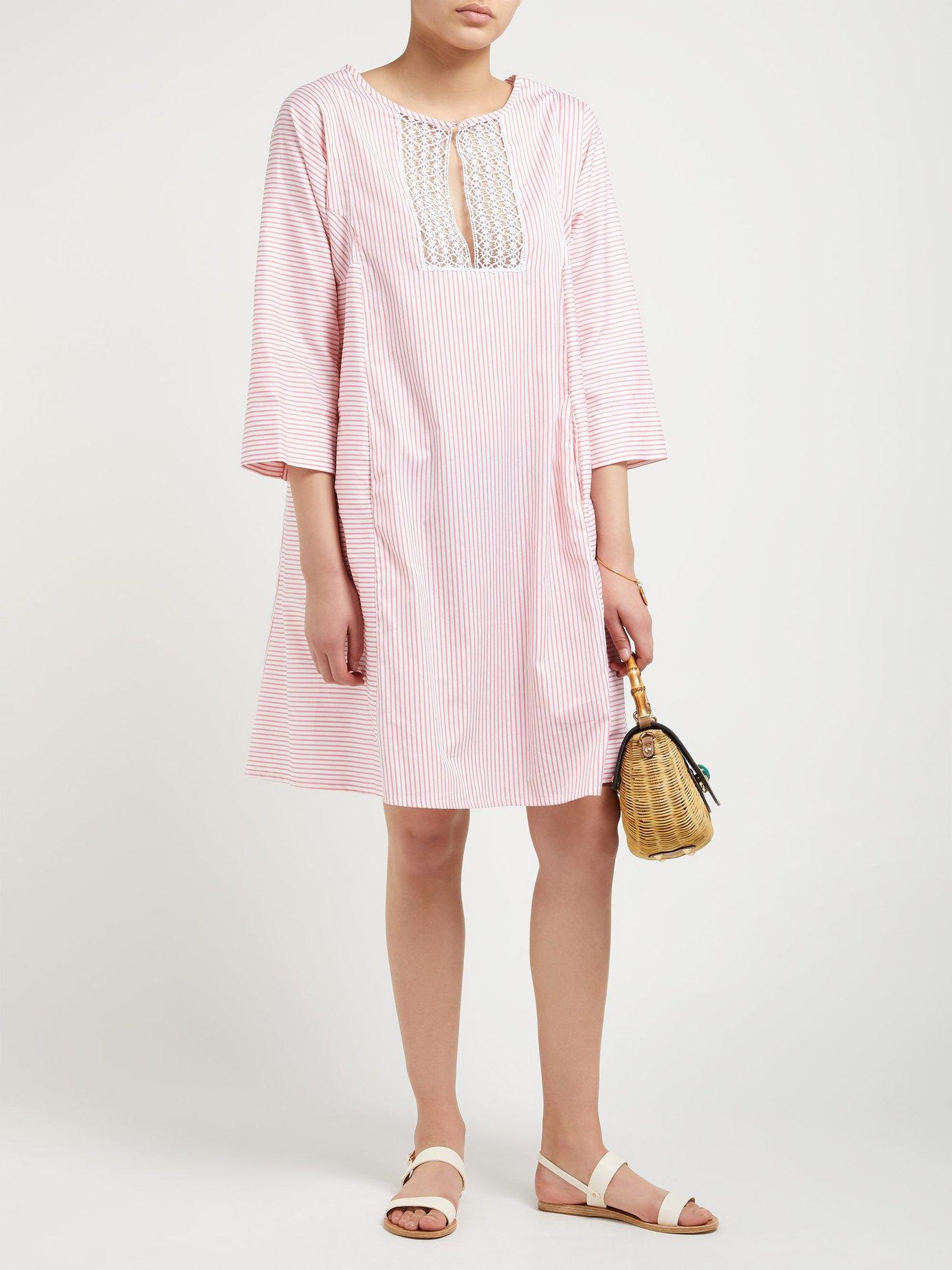 ab7395ee7c Thierry Colson - Pink Talitha Cotton And Silk Blend Stripe Kaftan - Lyst.  View fullscreen