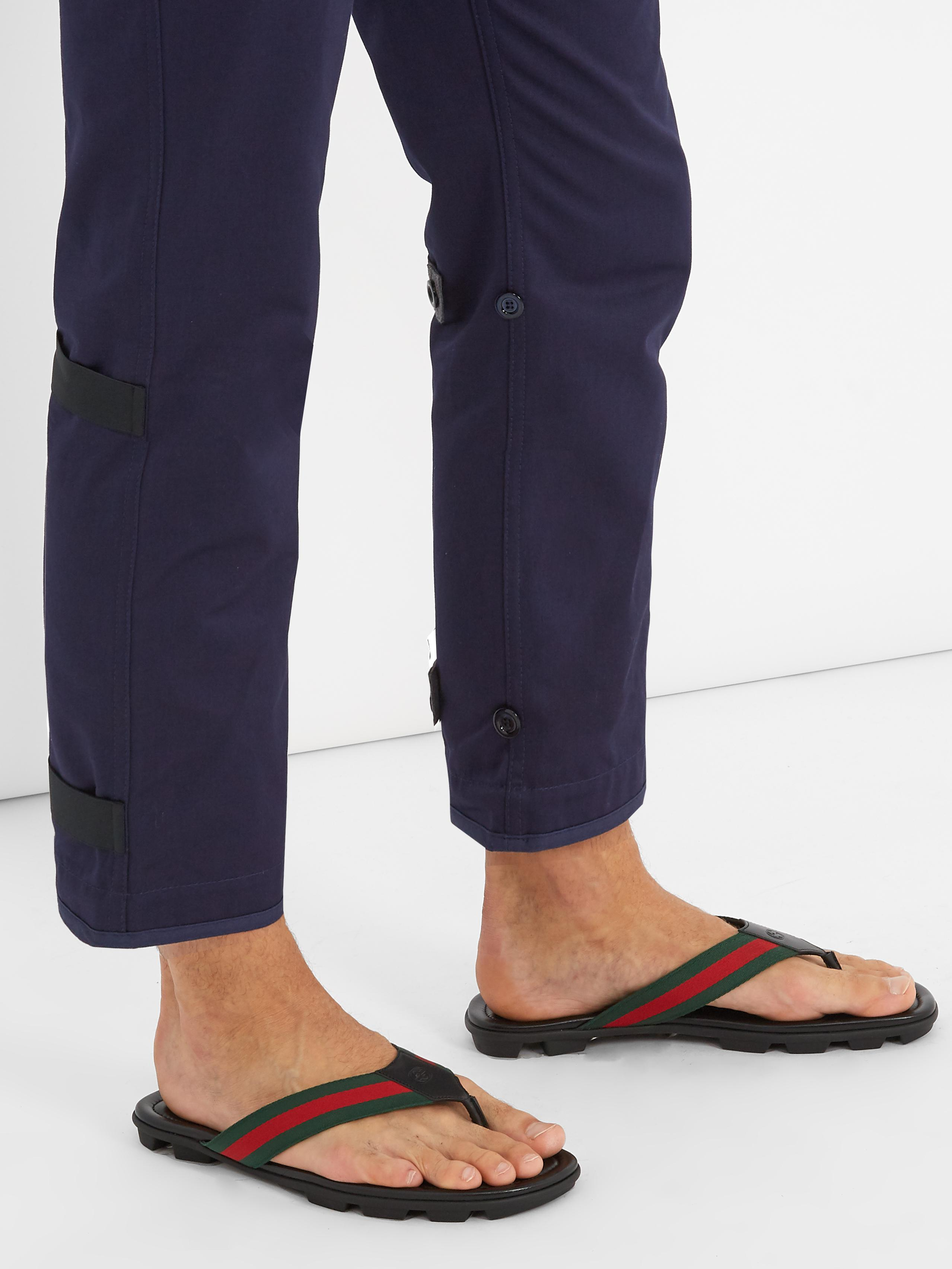 8be6361656f7 Lyst - Gucci Titan Web-striped Flip-flops in Black for Men