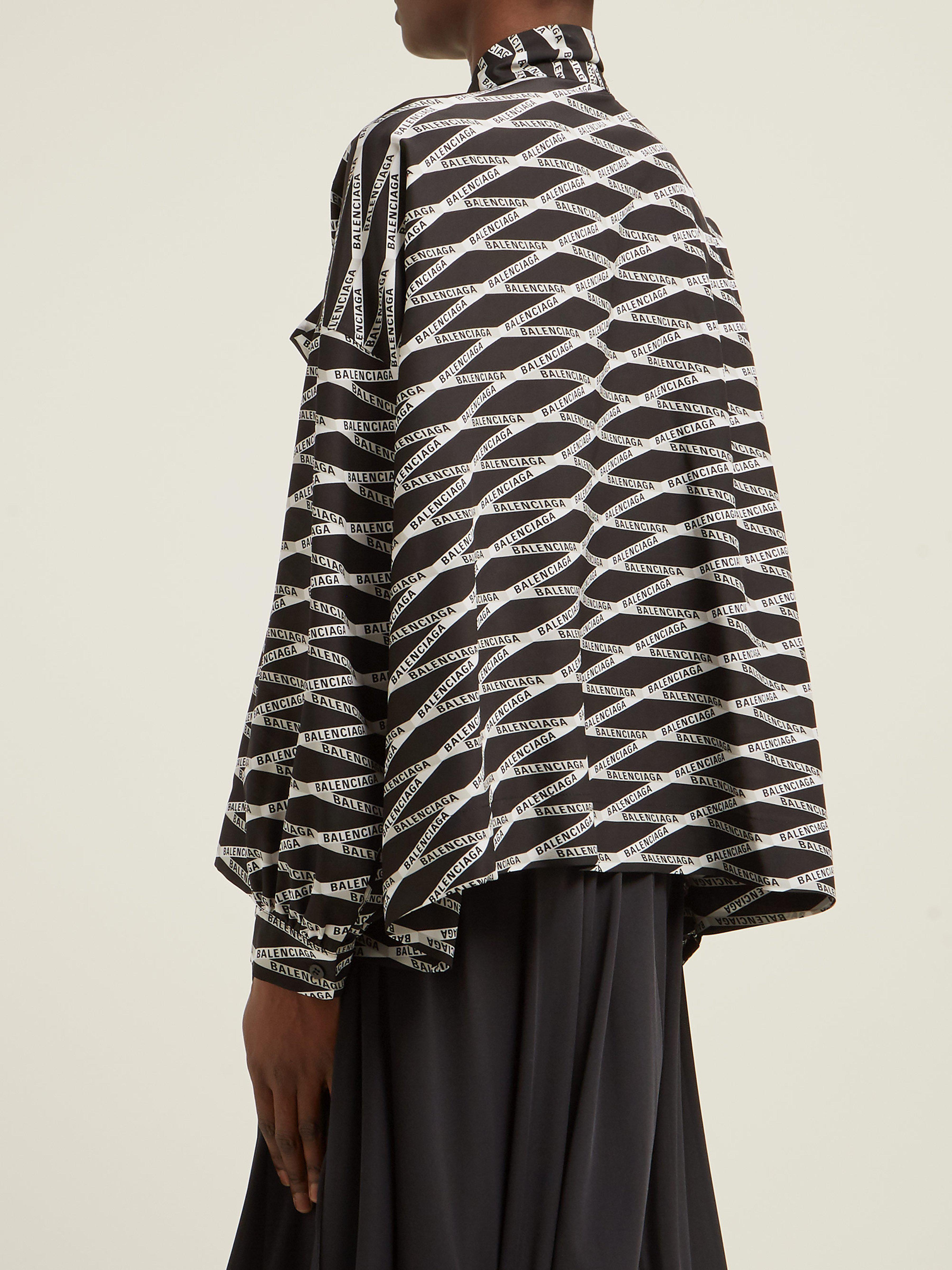 e2ac0c28c12130 Balenciaga Logo Print Silk Blouse in Gray - Lyst