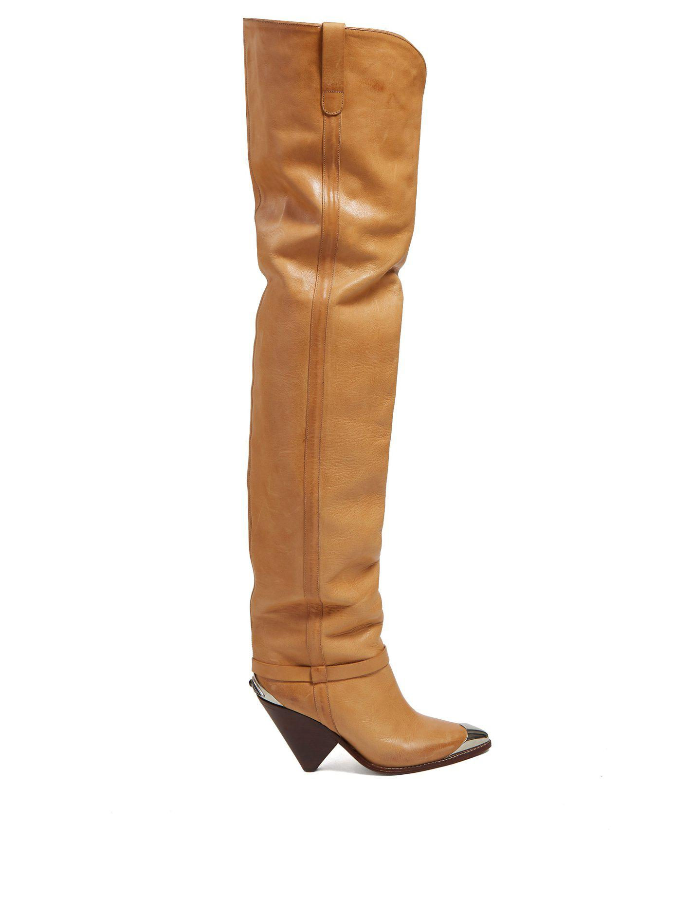 8b23aee3026 Lyst - Isabel Marant Lafsten Thigh High Leather Boots in Brown