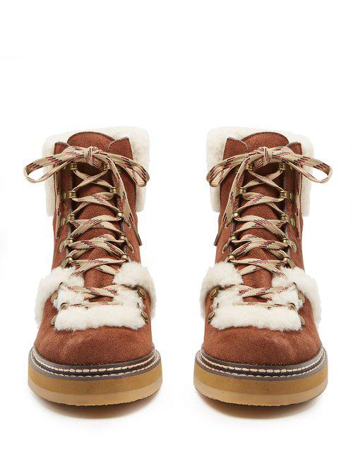 See By Chloé Eileen Suede Ankle Boots in Tan White (Brown)