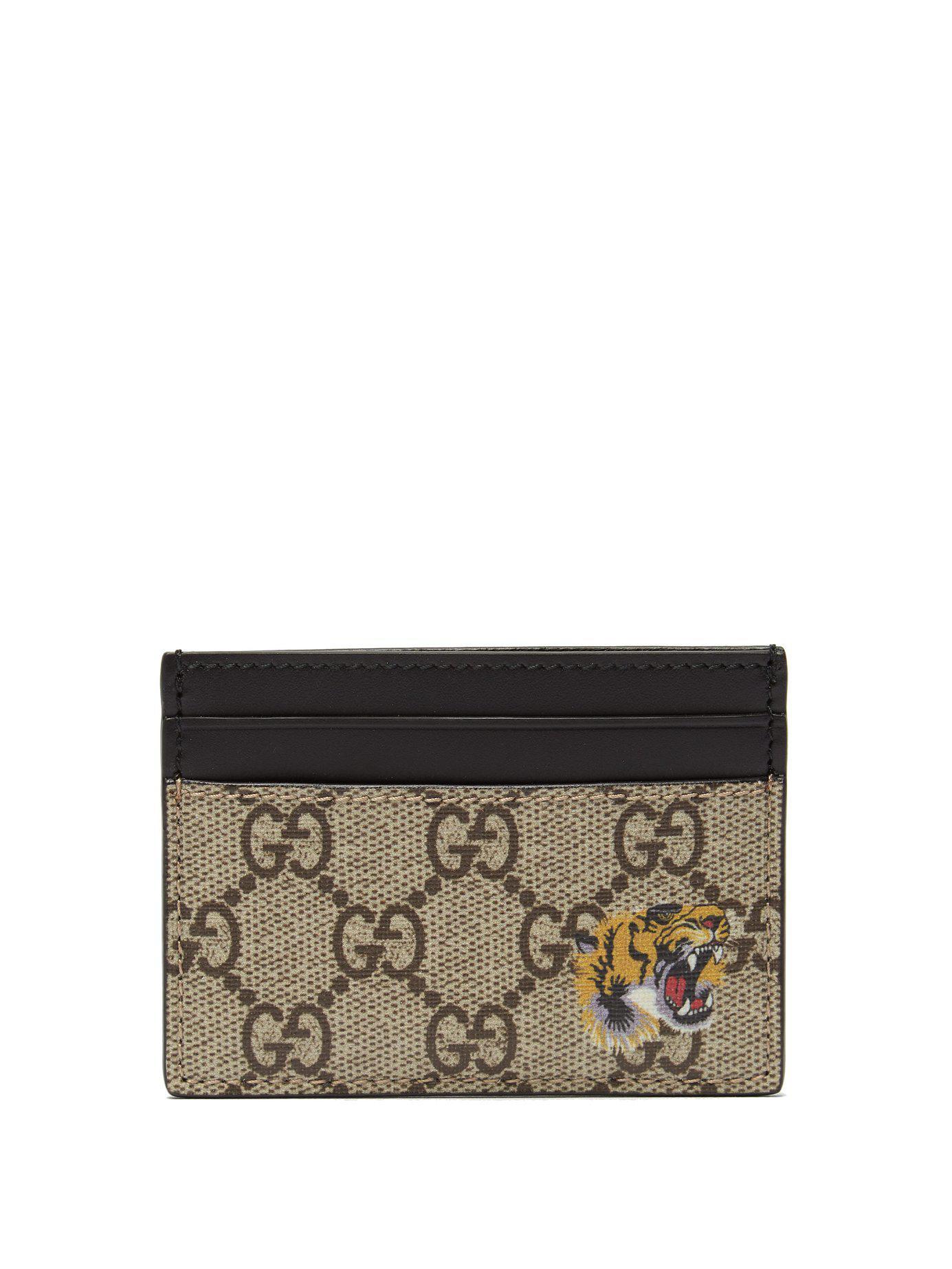 e903b64392a9 Gucci Gg Supreme Tiger Print Canvas Cardholder in Brown for Men - Lyst