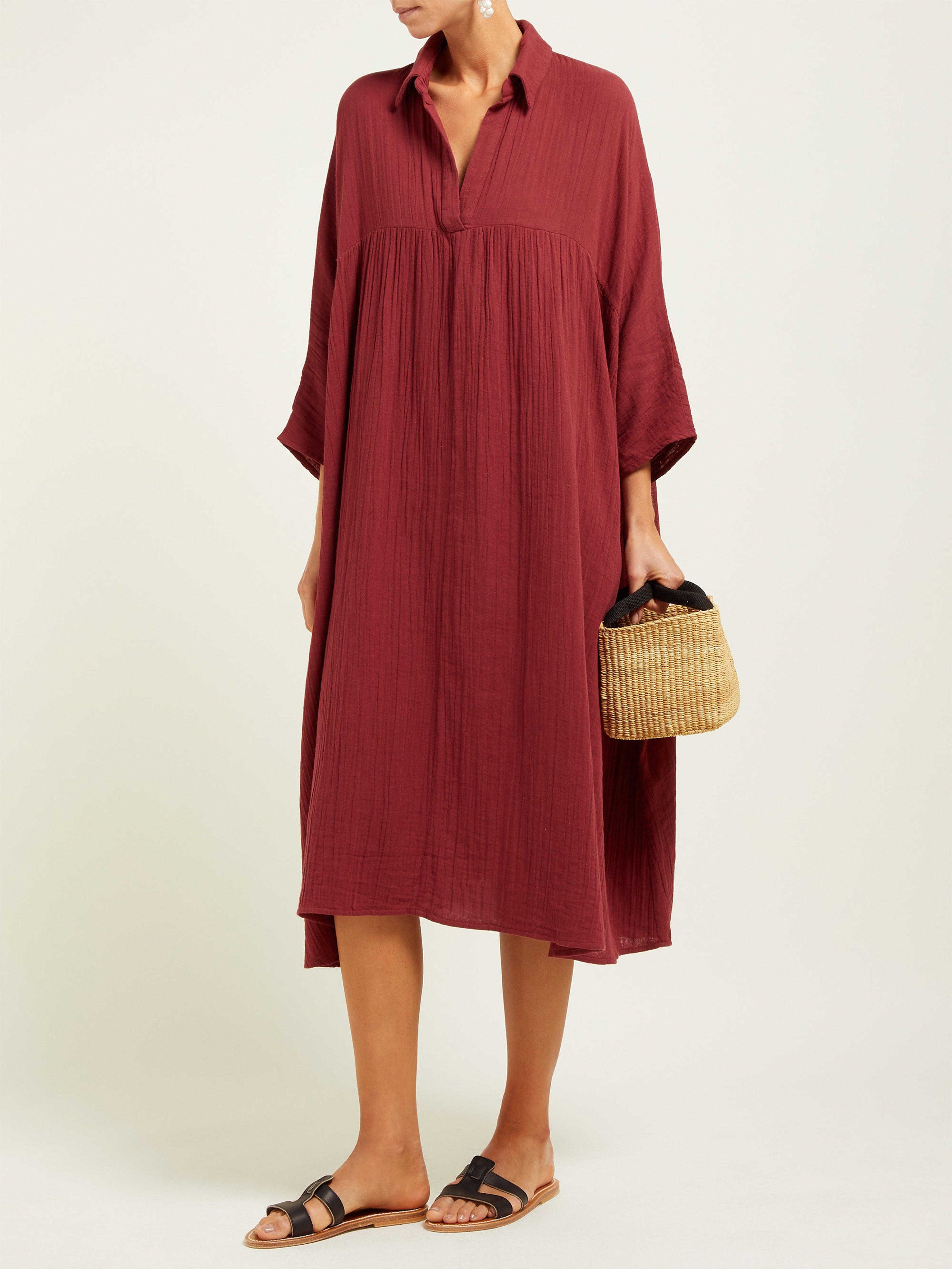 Robe en gaze de coton froissée Leo RHODE en coloris Rouge