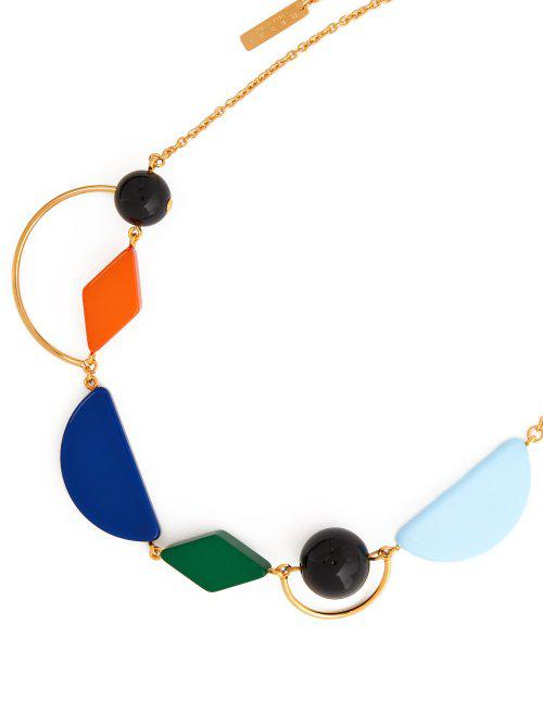 Marni Geometric Resin And Metal Necklace