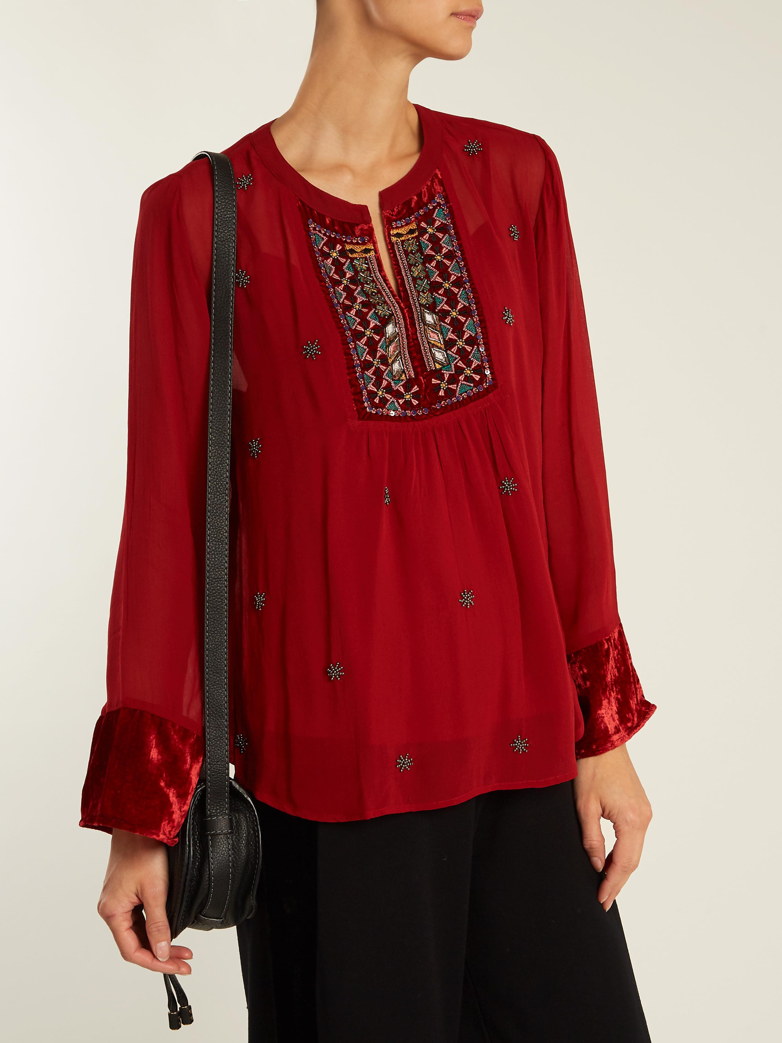 Becky embellished chiffon blouse Velvet Buy Online Cheap Outlet Fake ldywzT