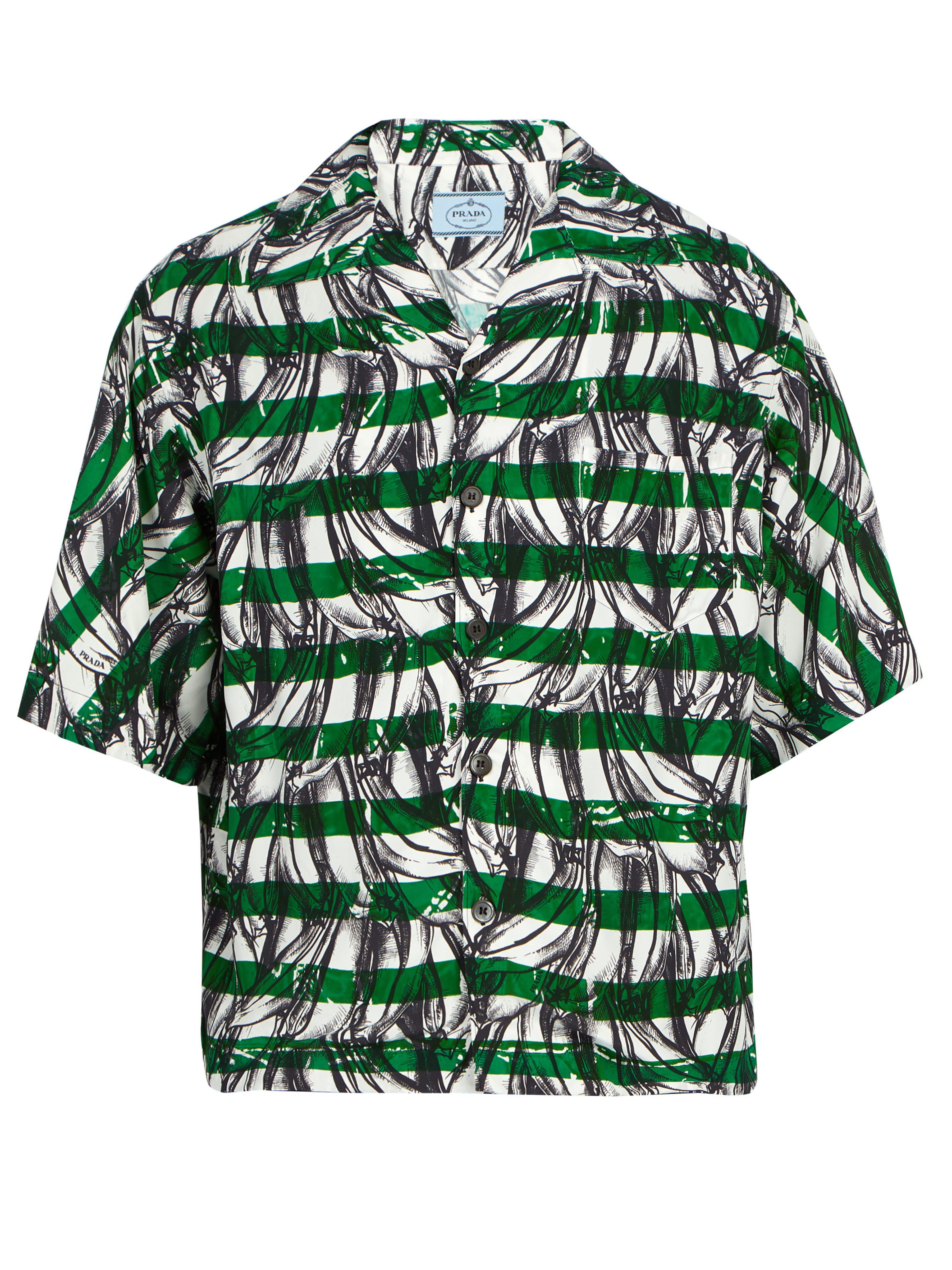 14c7f064 Prada Green Banana Print Striped Short Sleeved Shirt for men