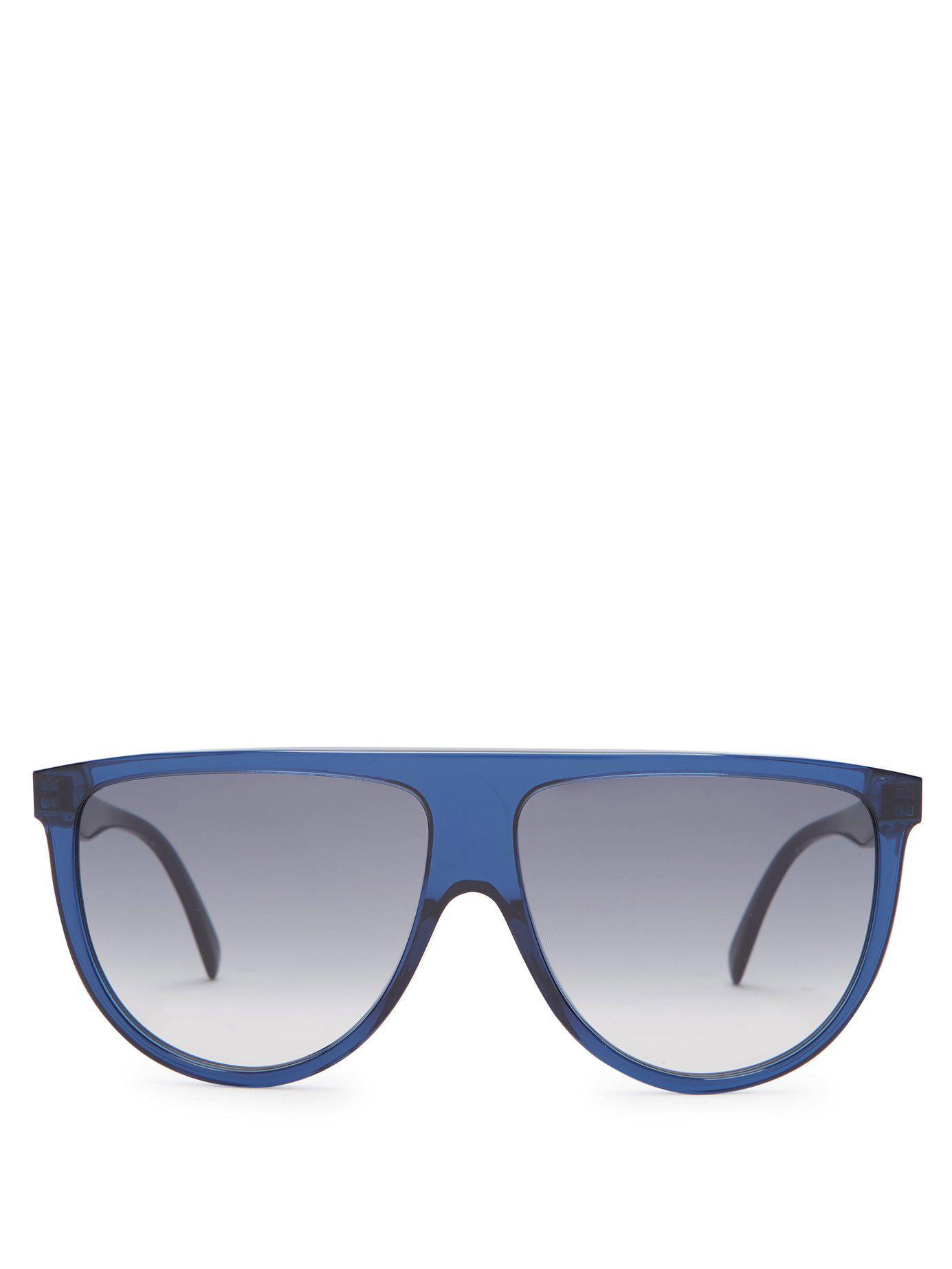 98cee30d4a0 Lyst - Céline Shadow D Frame Aviator Sunglasses in Blue