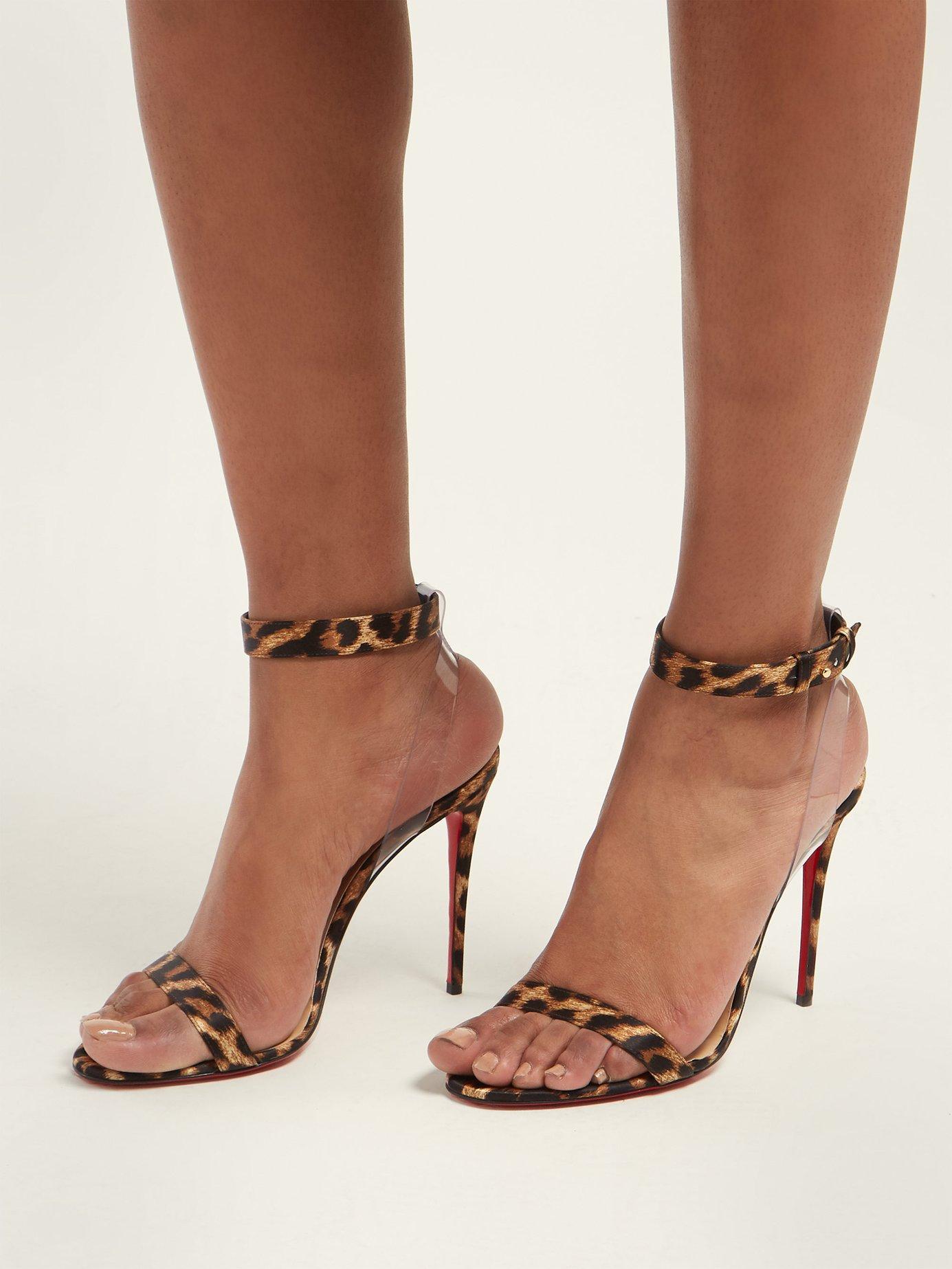 san francisco 552b6 30778 Women's Brown Jonatina 100 Leopard Print Satin Sandals