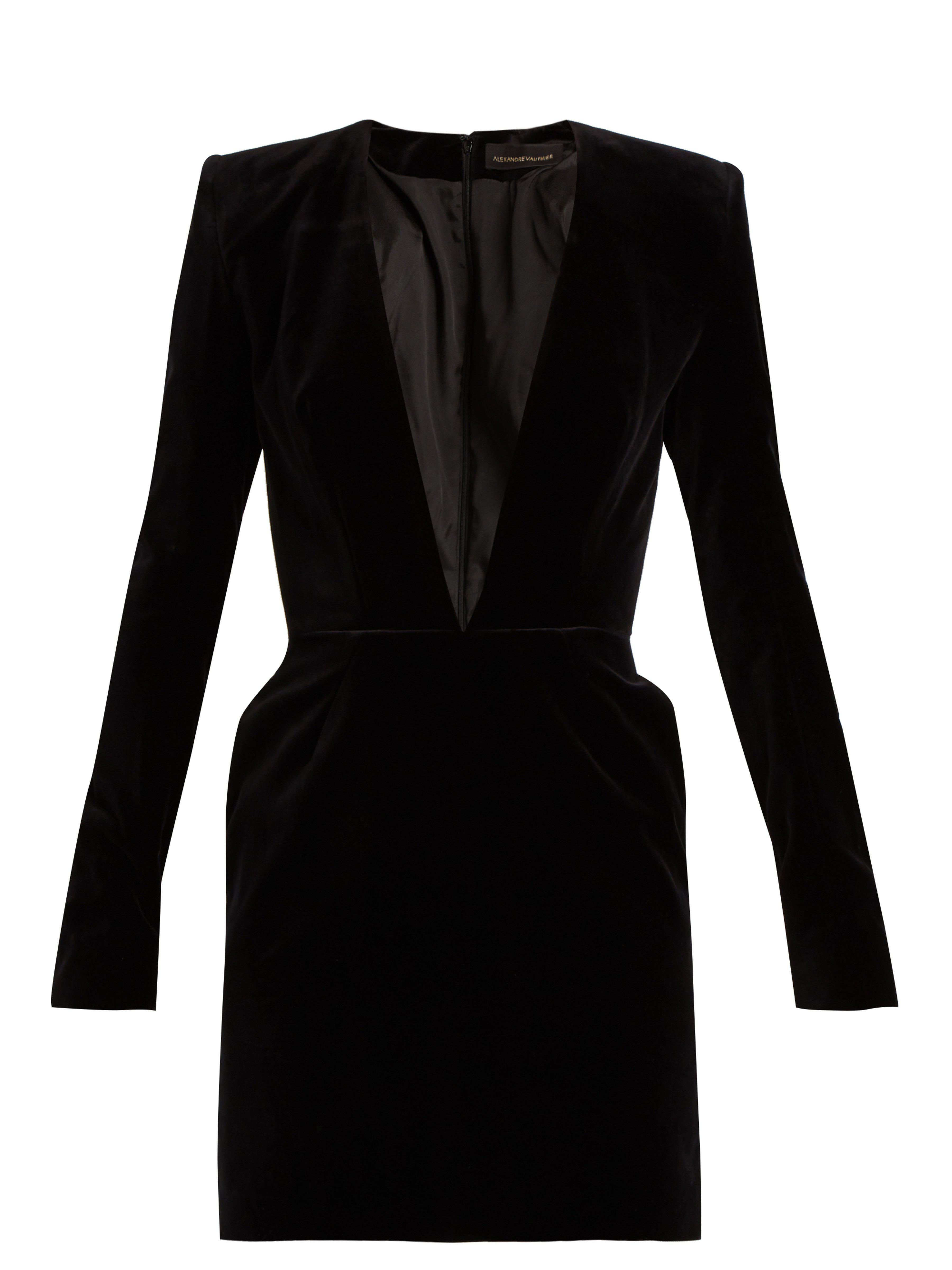 691a4414f4 Alexandre Vauthier V-neck Velvet Mini Dress in Black - Lyst