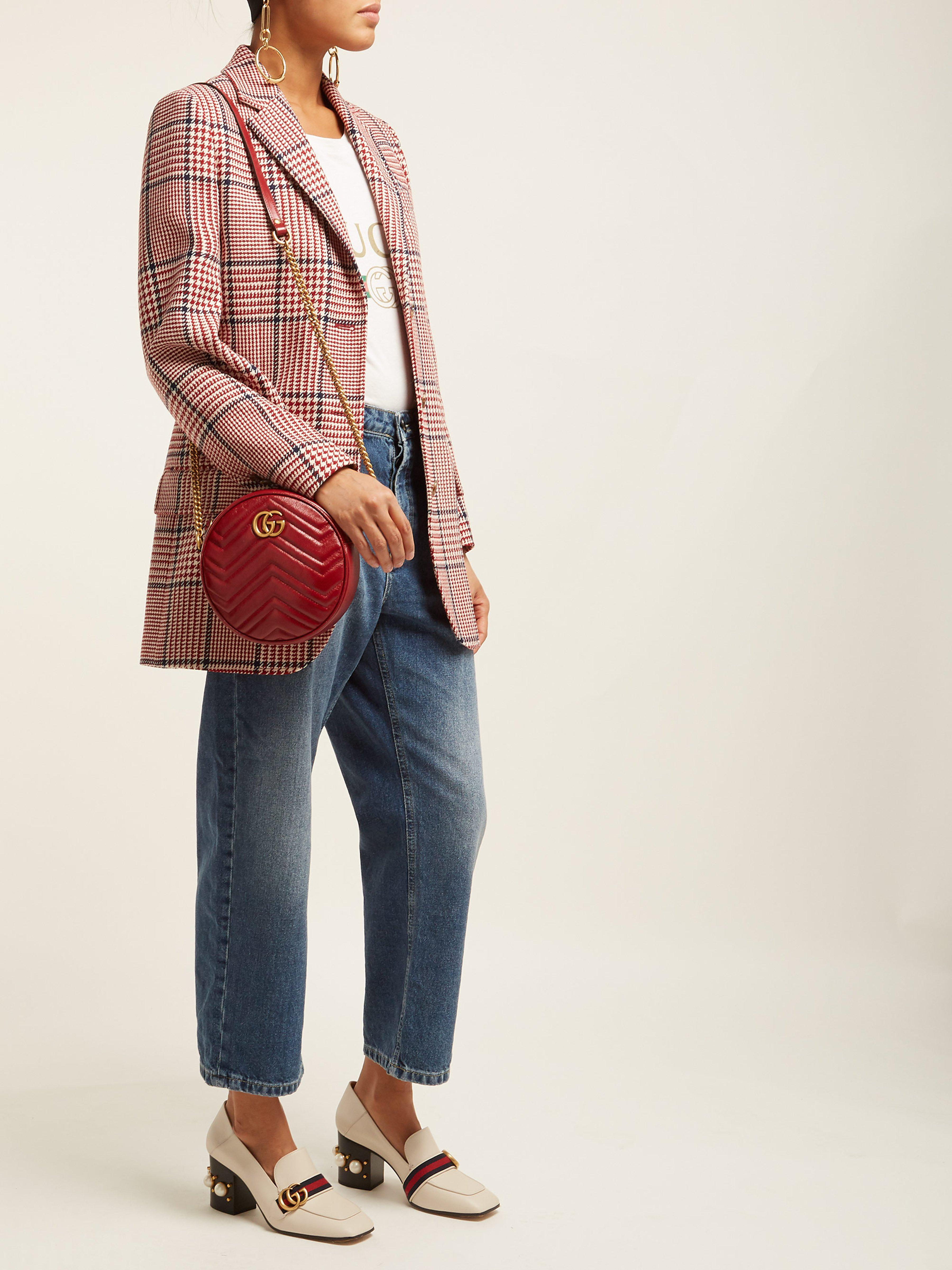 64de03c100dc Gucci Gg Marmont Circular Leather Cross Body Bag in Red - Lyst