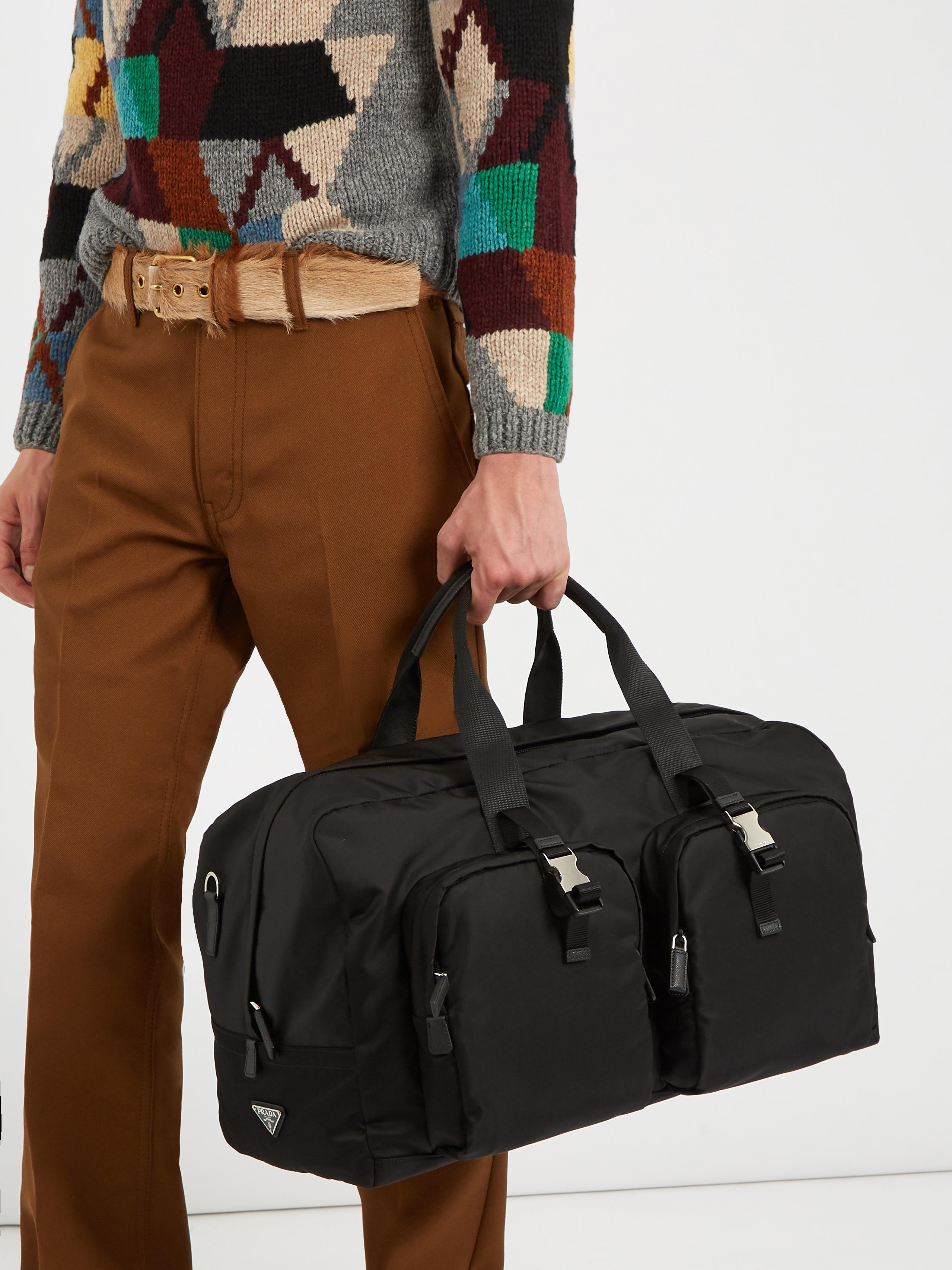 f1a09ac774bd Lyst - Prada Double-pocket Nylon Holdall in Black for Men