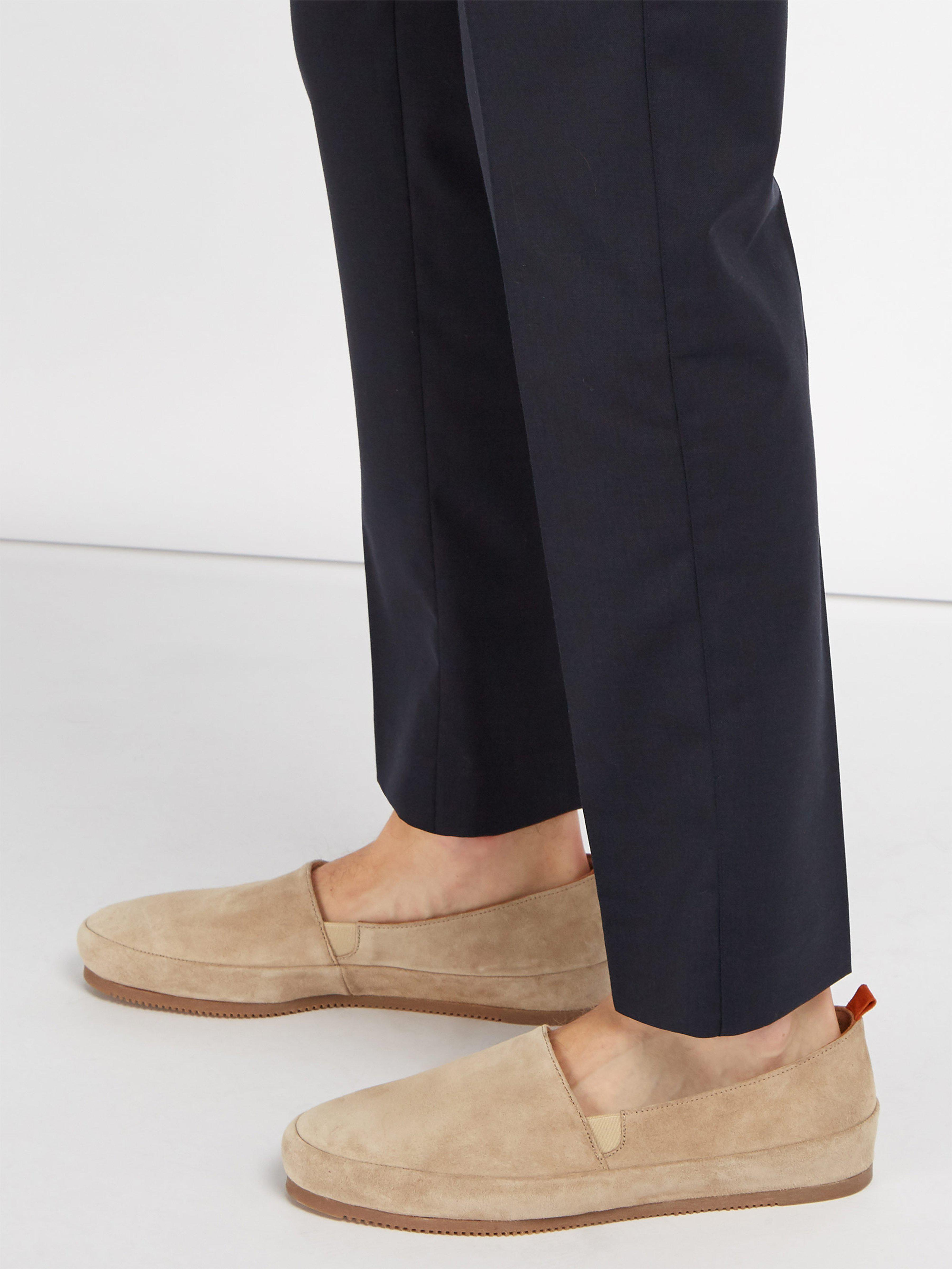 Mulo Suede Loafers in Cream (Natural