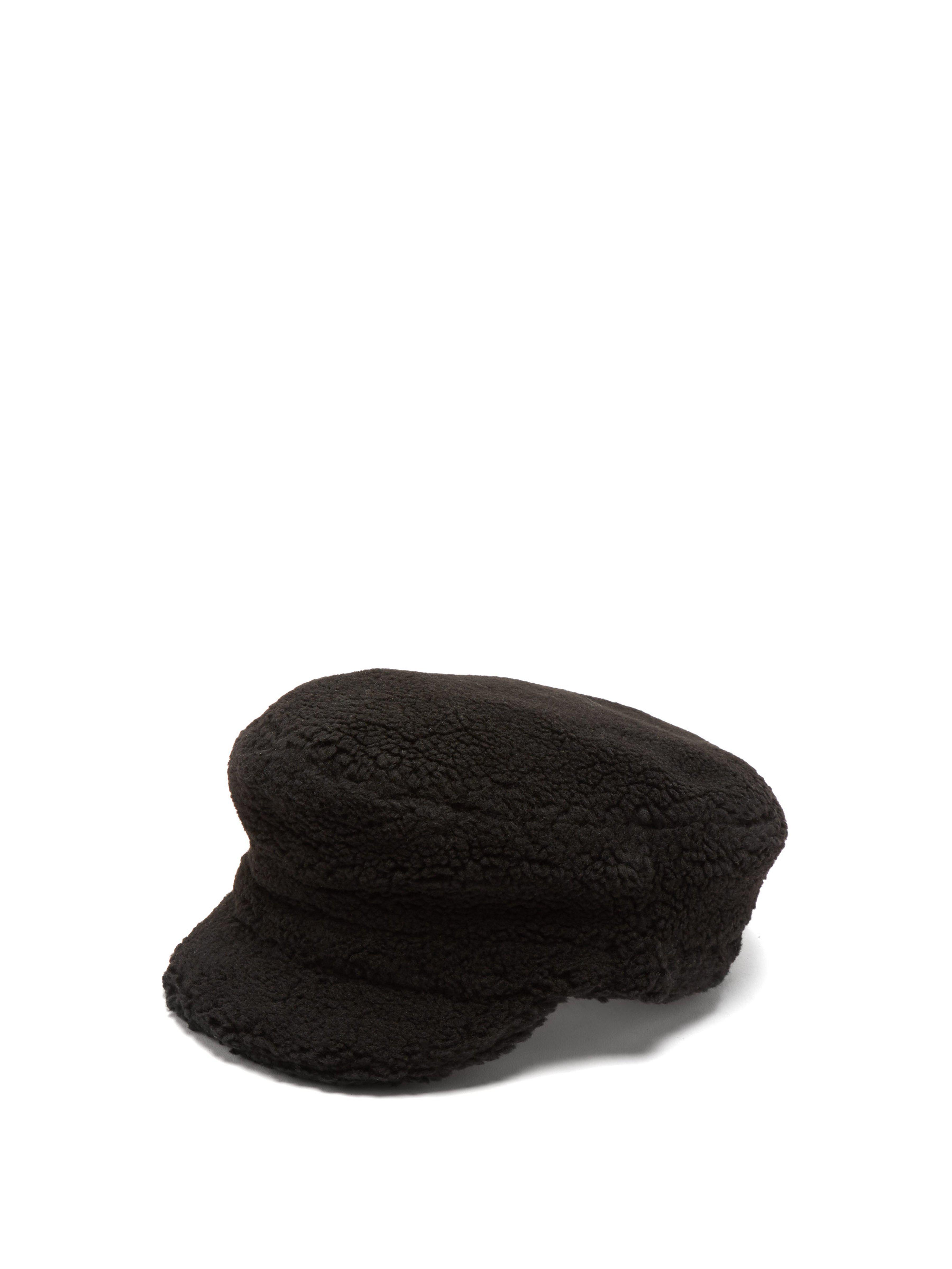 Federica Moretti Faux Shearling Baker Boy Cap in Black - Lyst bfcab3bfba13