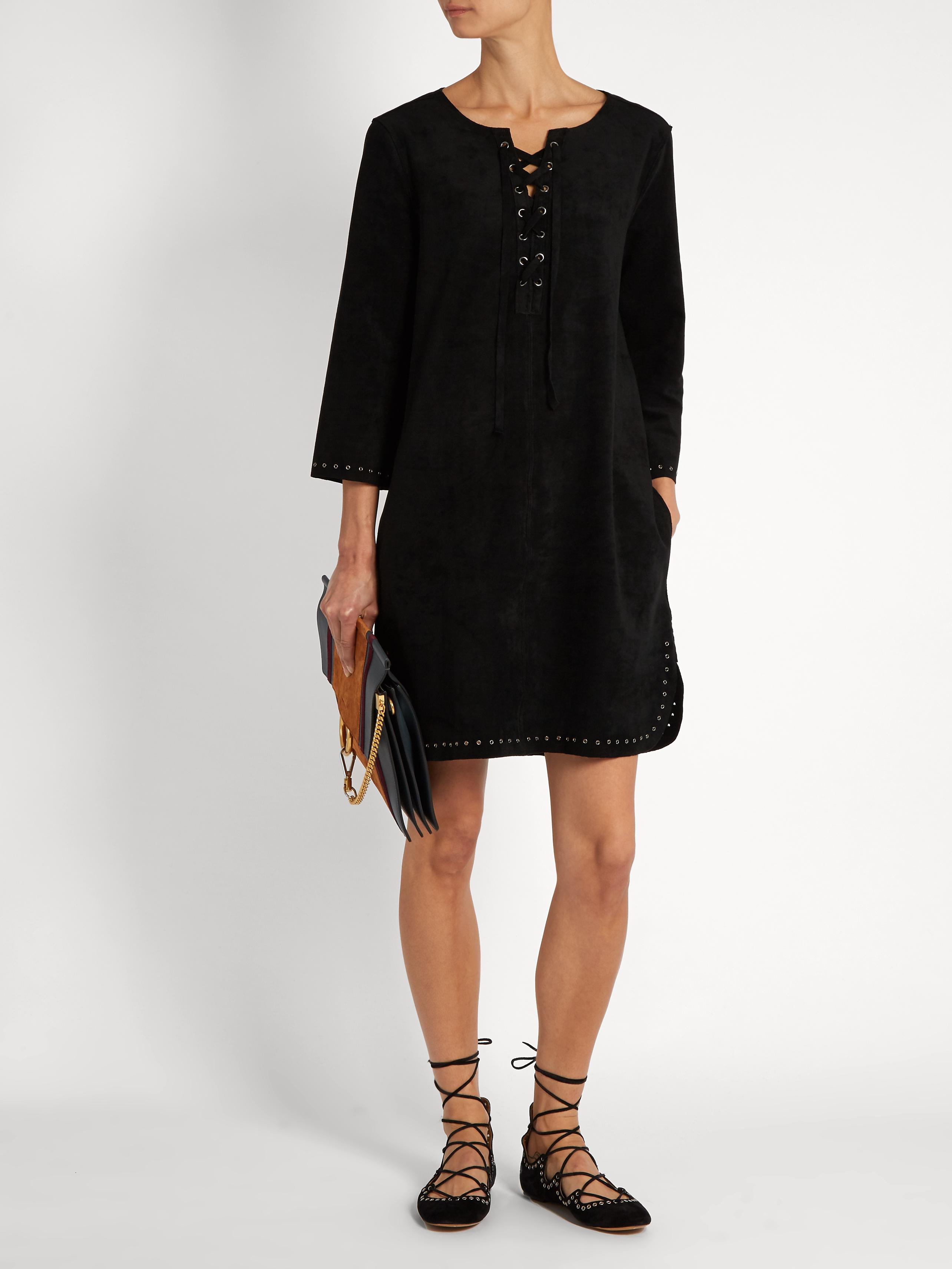 d86c53621c0 Velvet By Graham   Spencer Raleigh Lace-up Faux-suede Dress in Black ...