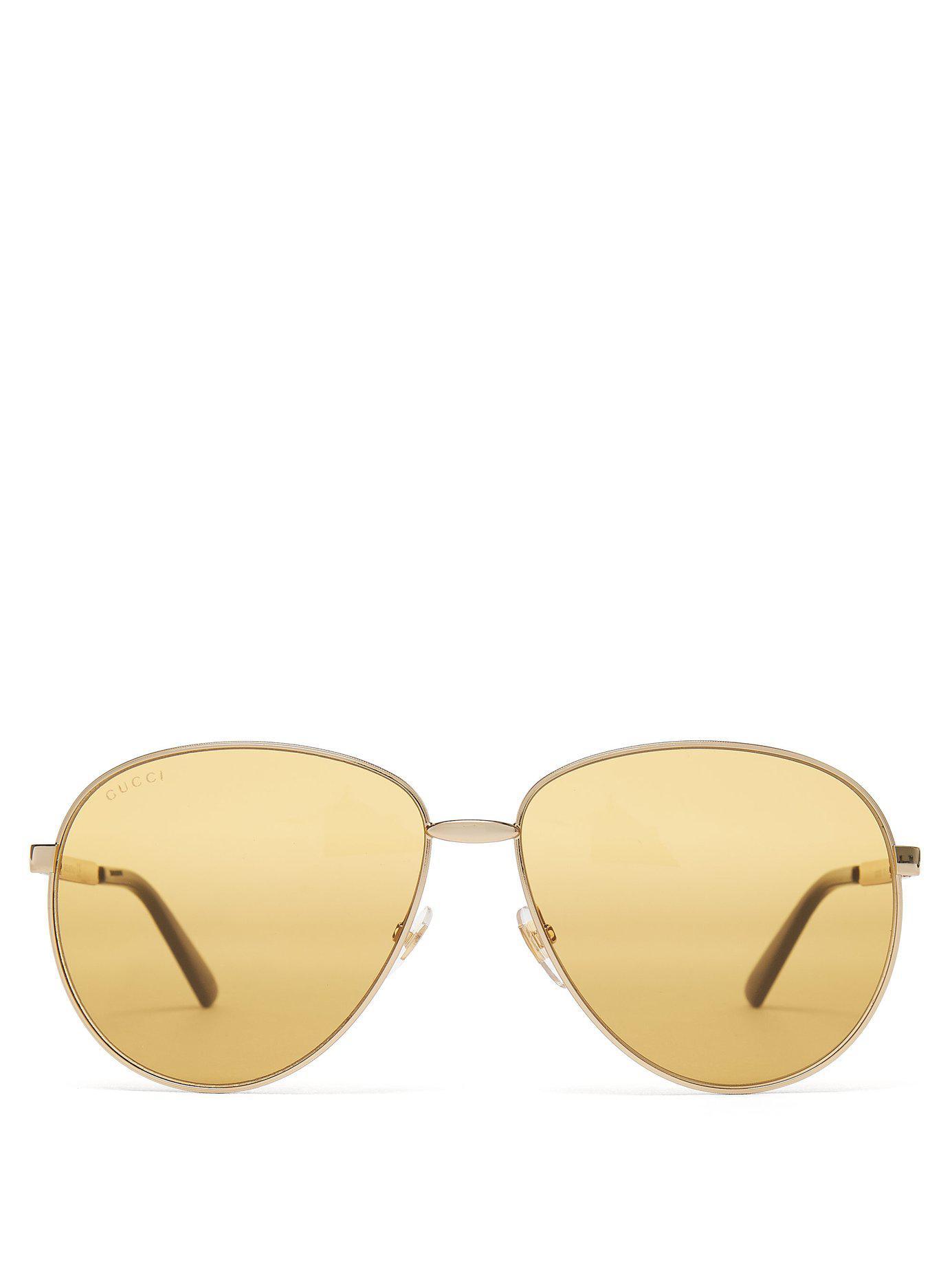 035ad9e3446 Gucci - Metallic Aviator Frame Metal Sunglasses for Men - Lyst. View  fullscreen