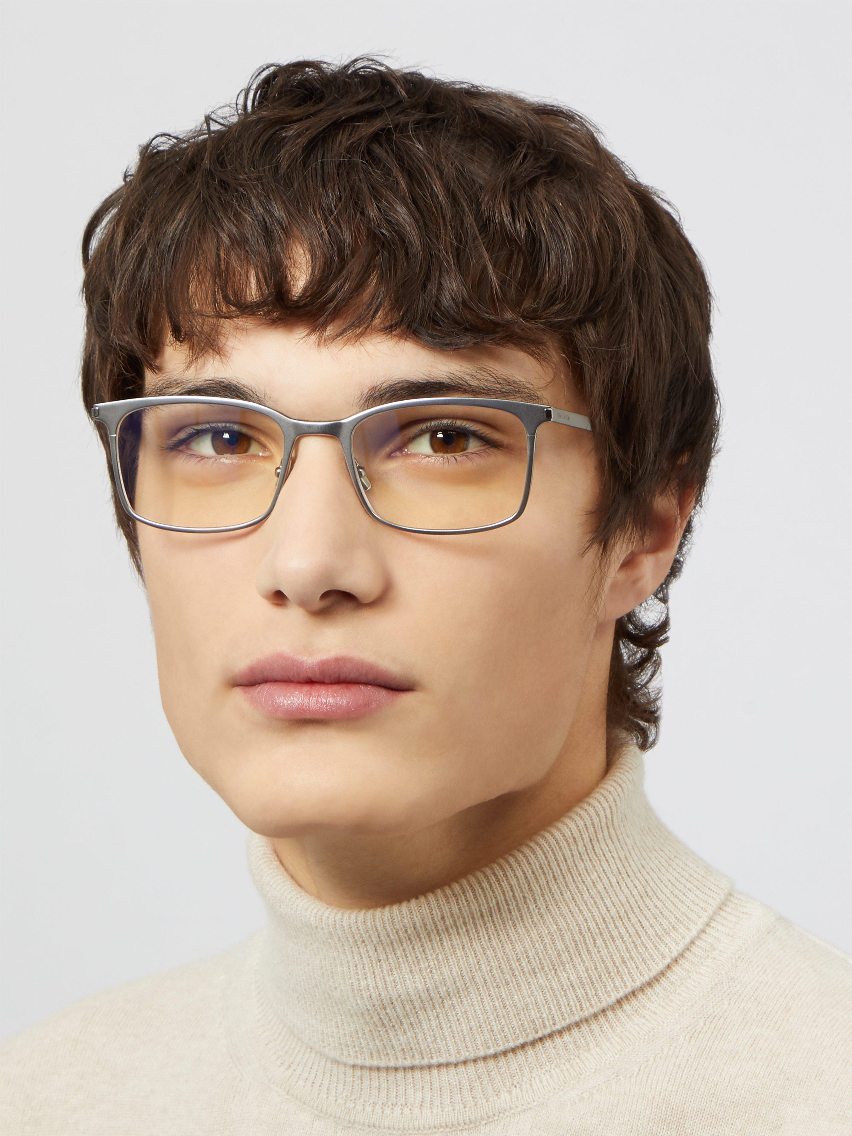842b6c9416d6 Saint Laurent Square Frame Metal Glasses in Metallic for Men - Lyst