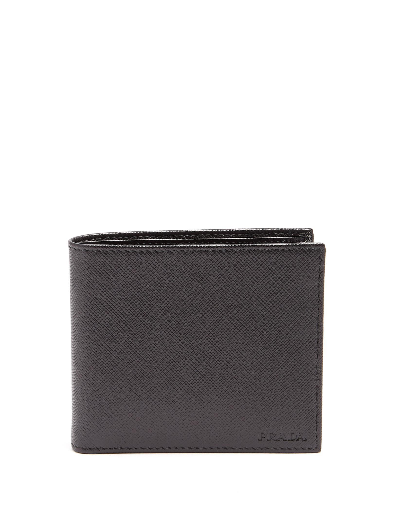 d831235045cd Lyst - Prada Saffiano-leather Bi-fold Wallet in Black for Men