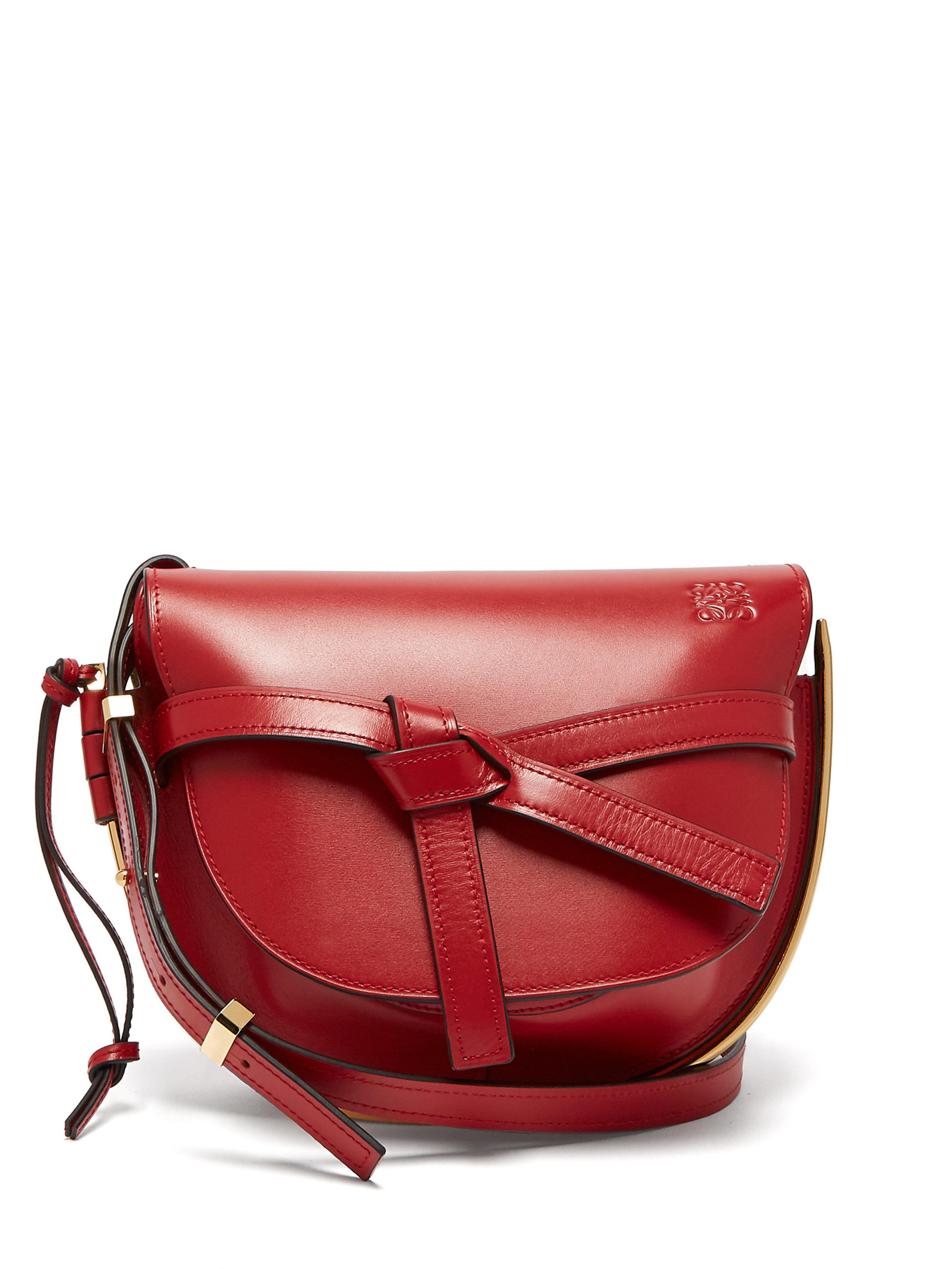 f944d9dfe1f Loewe Gate Small Grained-leather Cross-body Bag in Red - Lyst