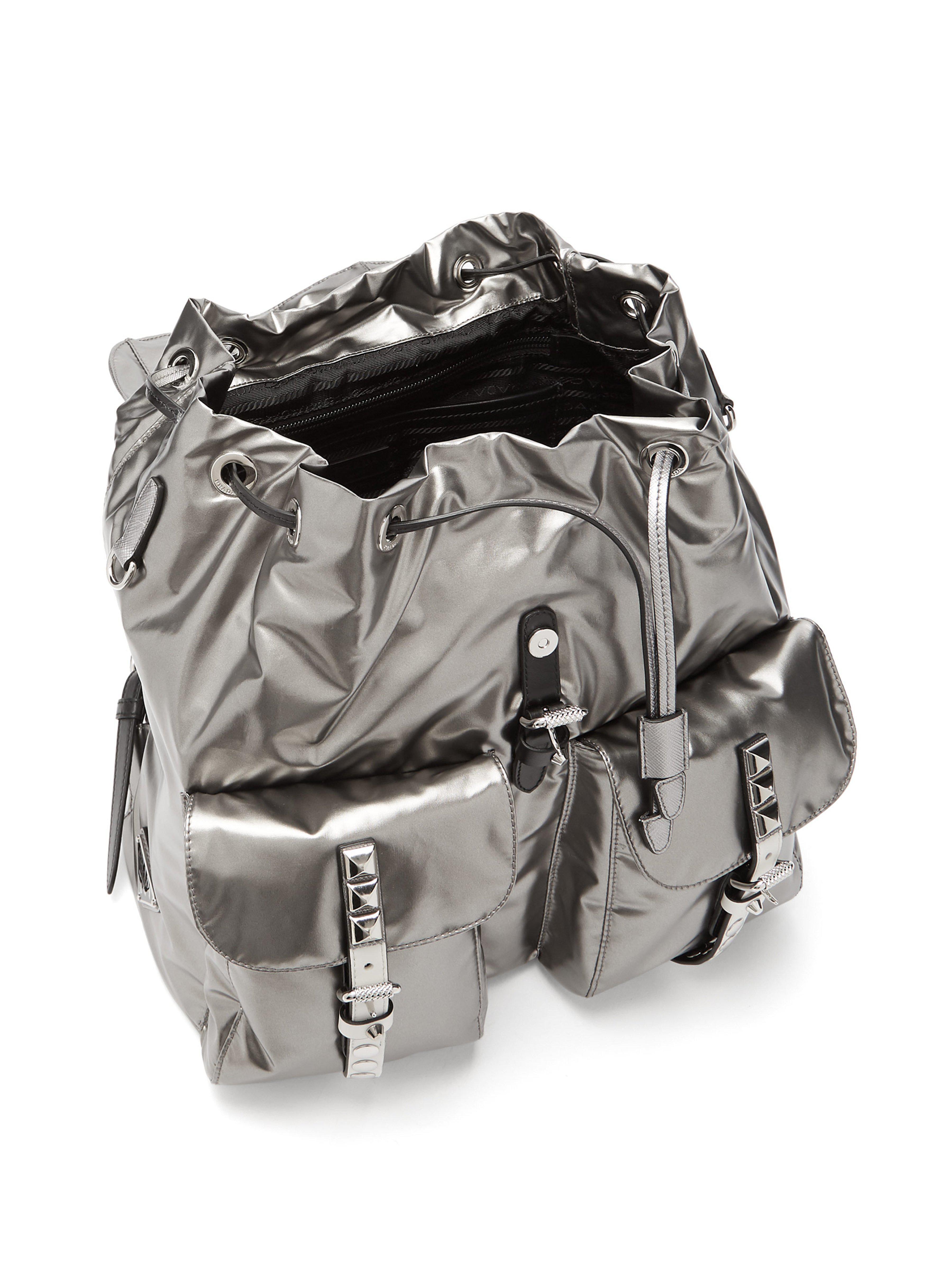 Prada Synthetic Vela Laminated Nylon Backpack in Silver (Metallic)