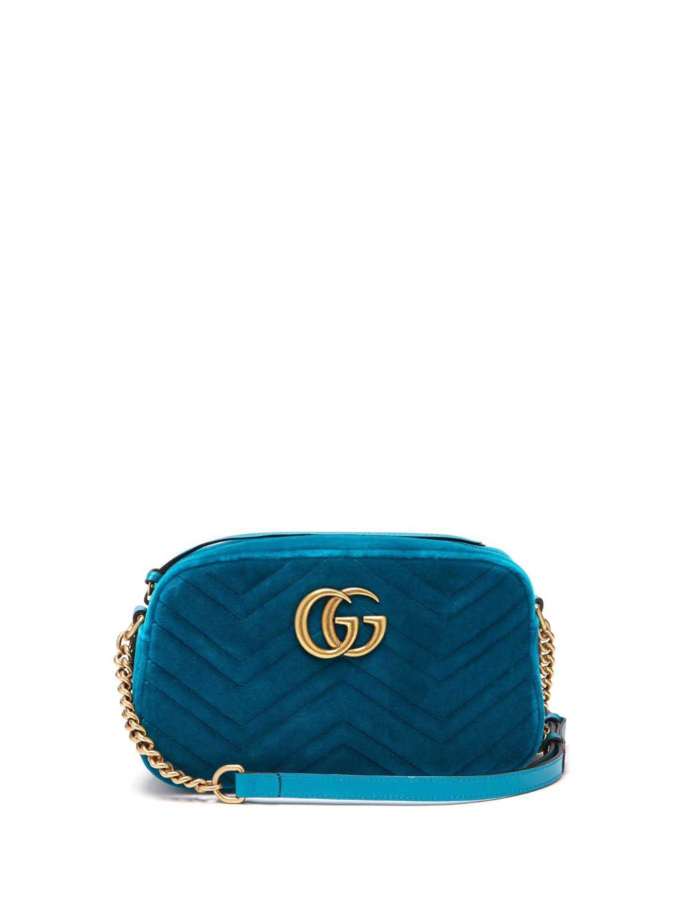 c5b770855600 Lyst - Gucci Gg Marmont Quilted Velvet Cross Body Bag in Green