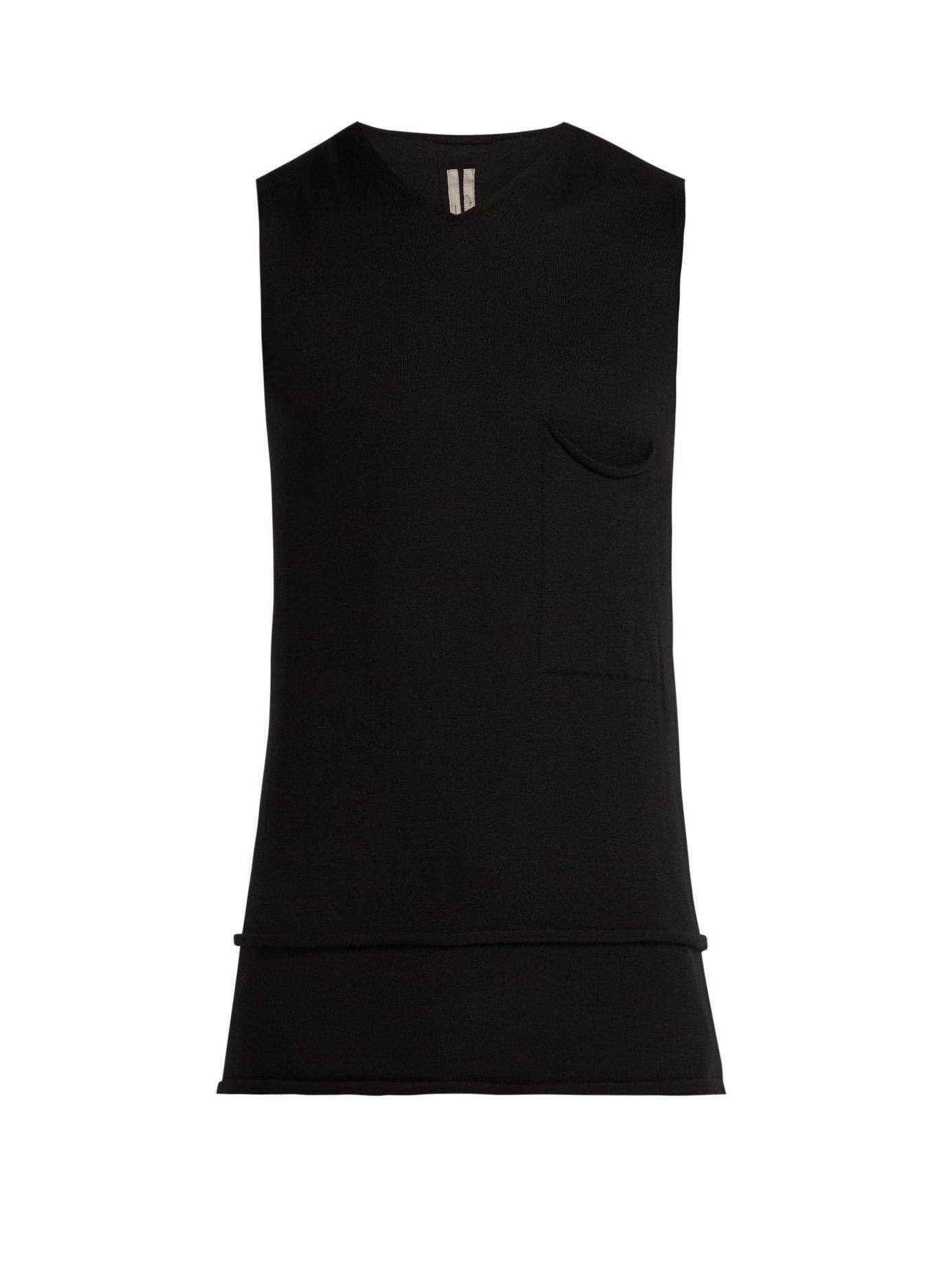 271f7b90c5af7 Lyst - Rick Owens V Neck Cashmere Tank Top in Black for Men