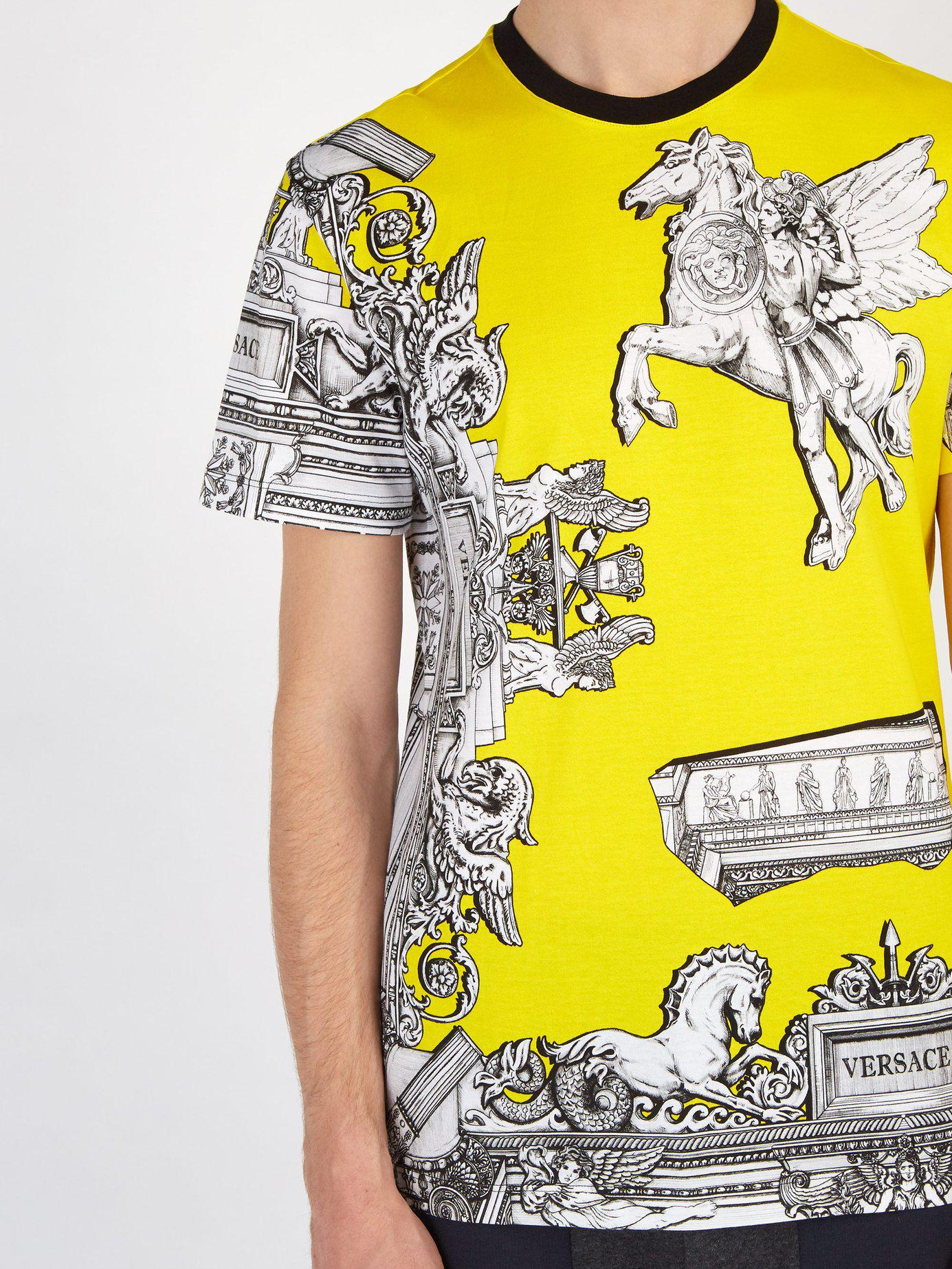 b58ac1b5 Versace - Yellow Baroque Print Pegasus T Shirt for Men - Lyst. View  fullscreen