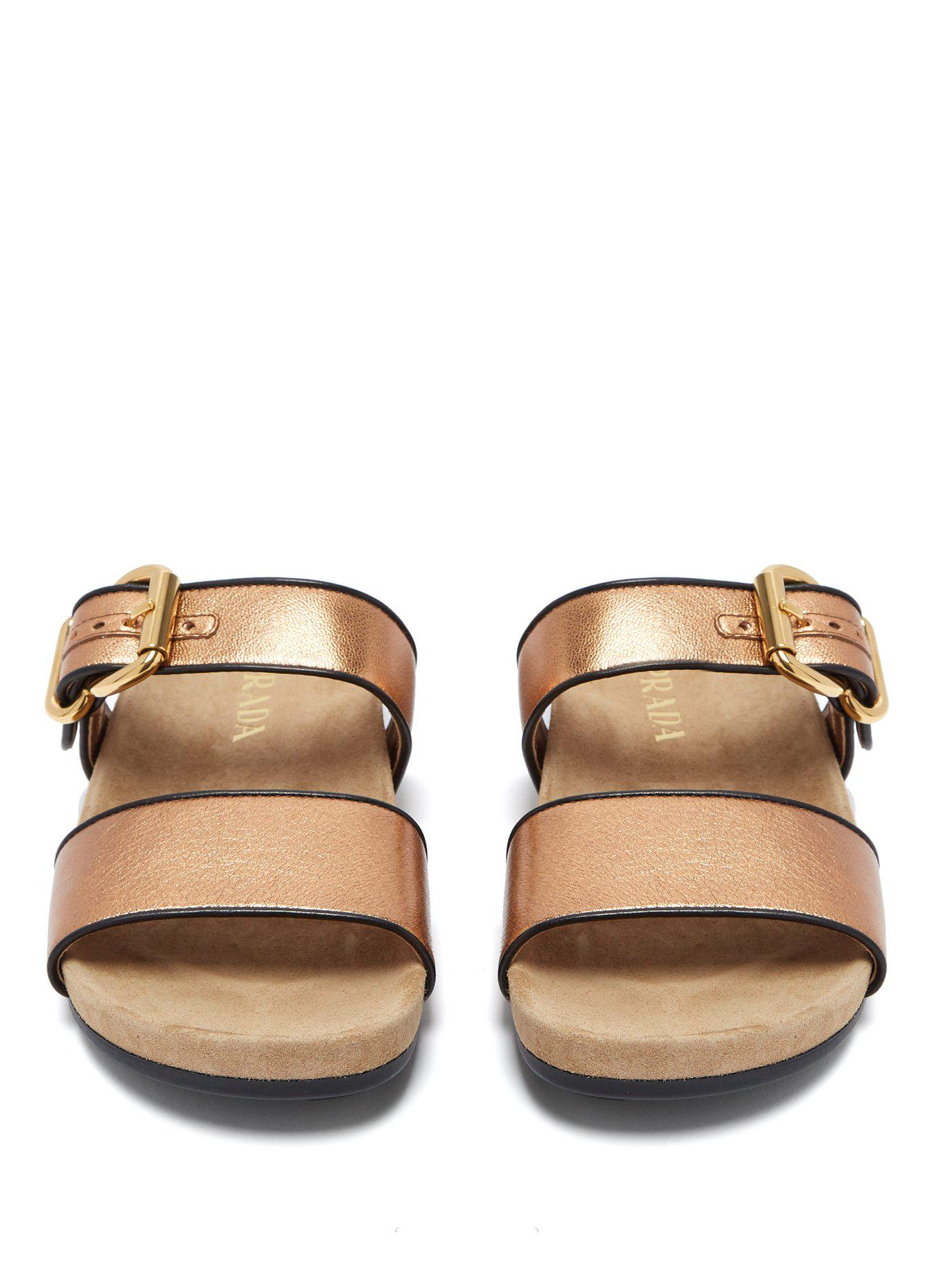 1e9800431a3 Prada - Multicolor Double Strap Metallic Leather Slides - Lyst. View  fullscreen