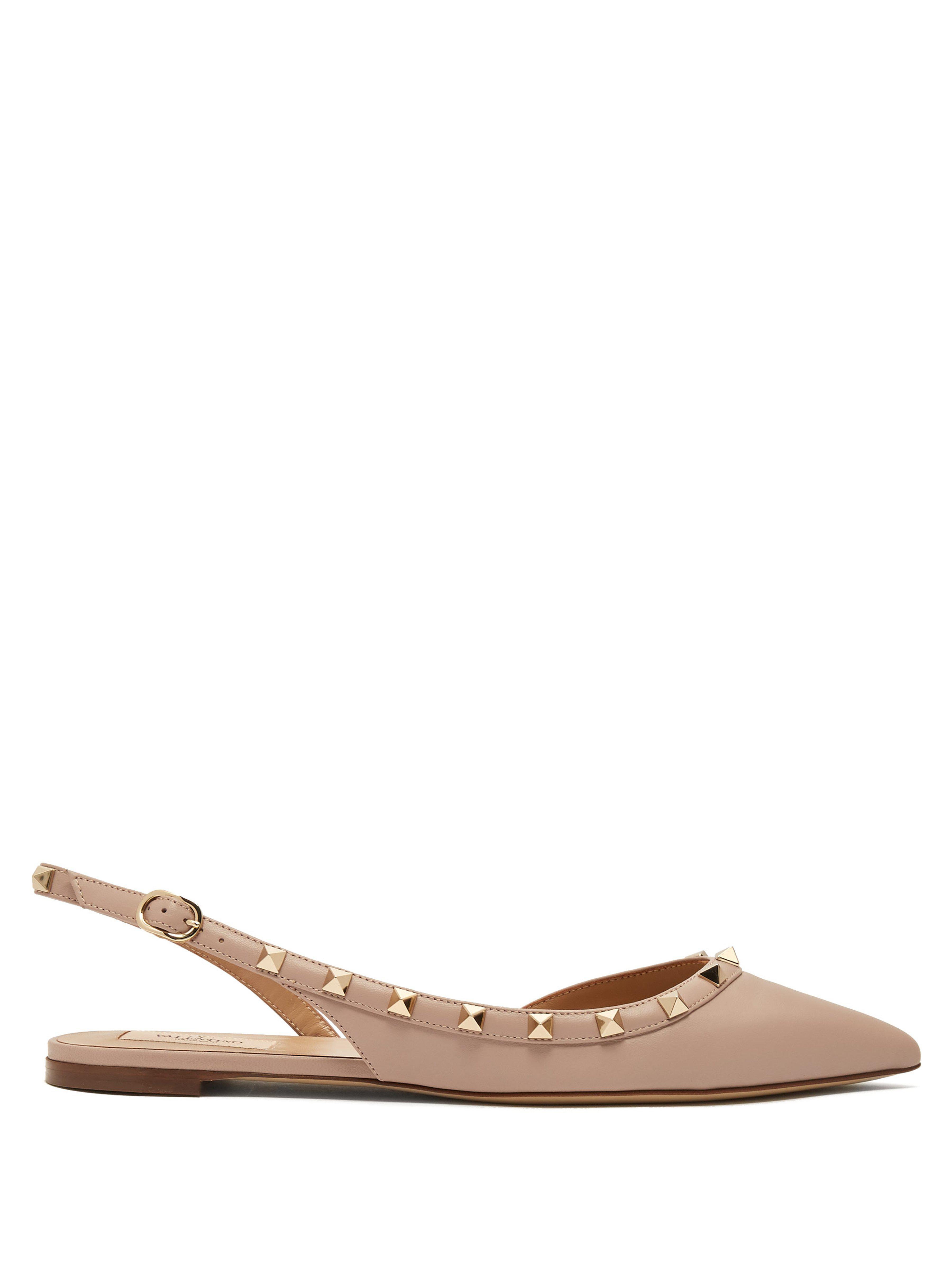 037ec6079cc8 Valentino Rockstud Leather Slingback Ballet Flats - Save 17% - Lyst