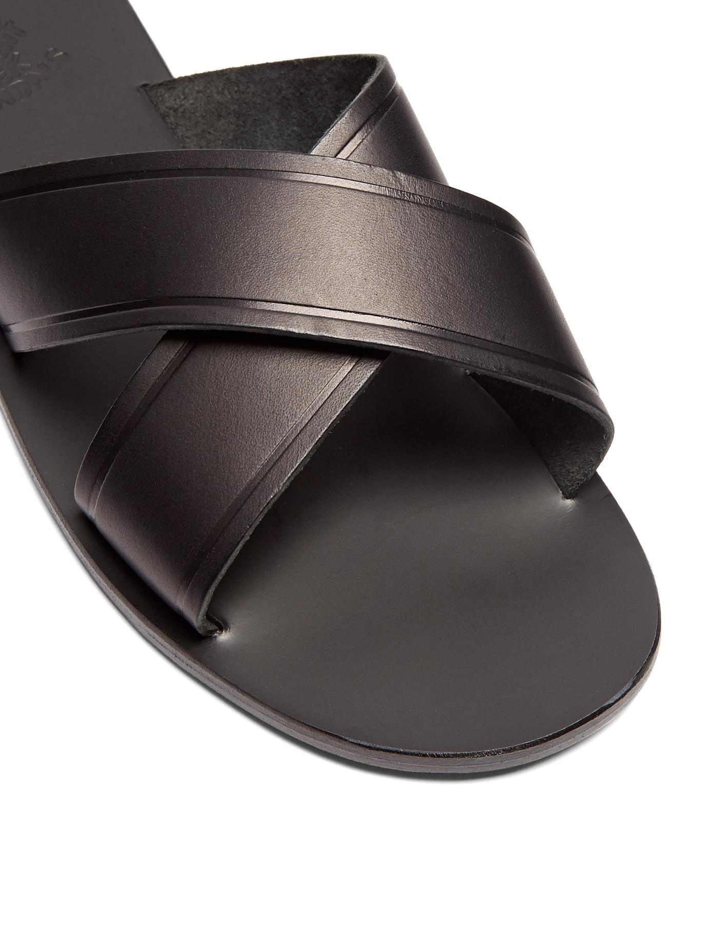 Ancient greek sandals Kritonas Leather Sandals in Black ...