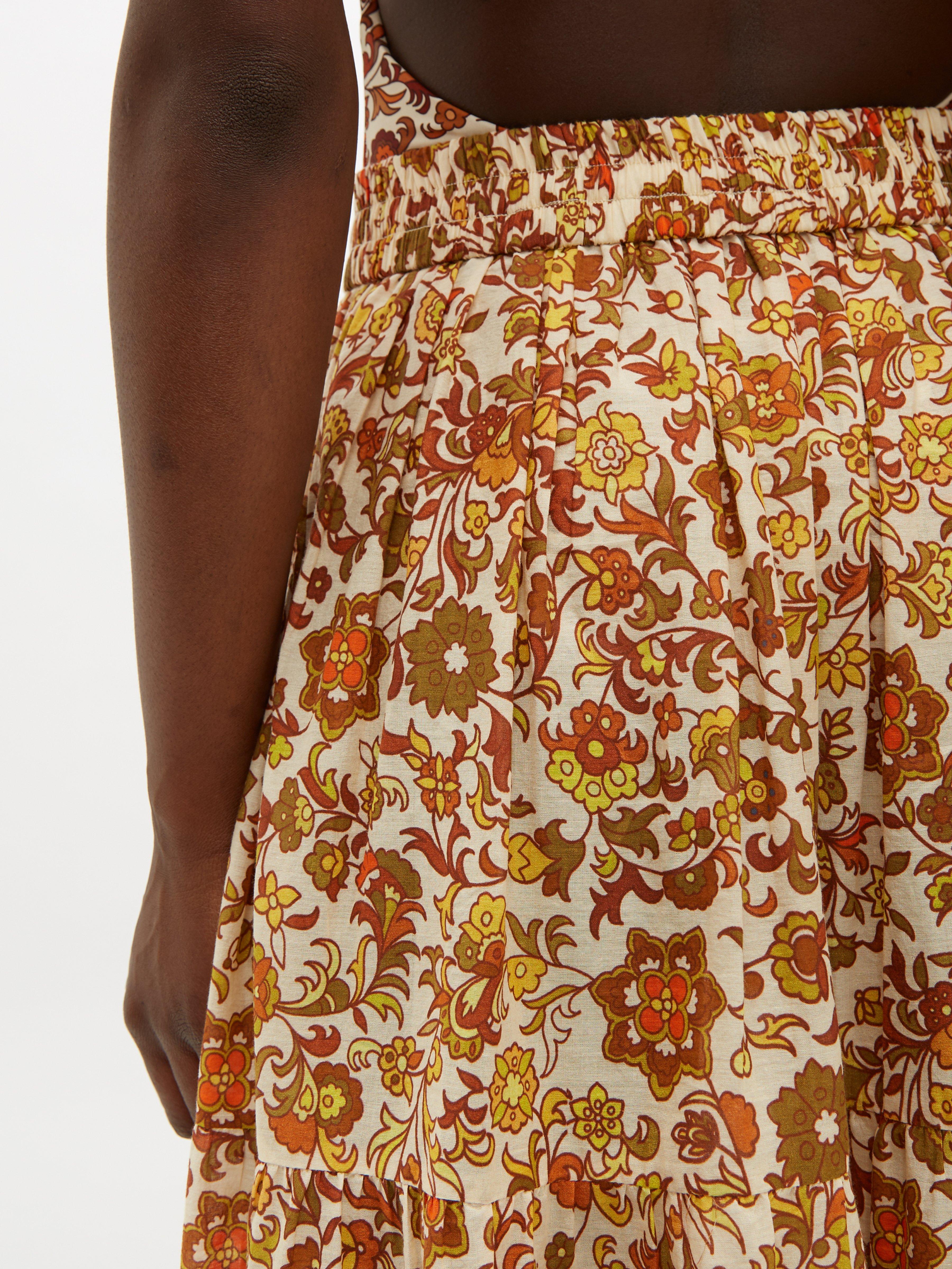 Jupe longue en coton à imprimé floral Batira Dodo Bar Or